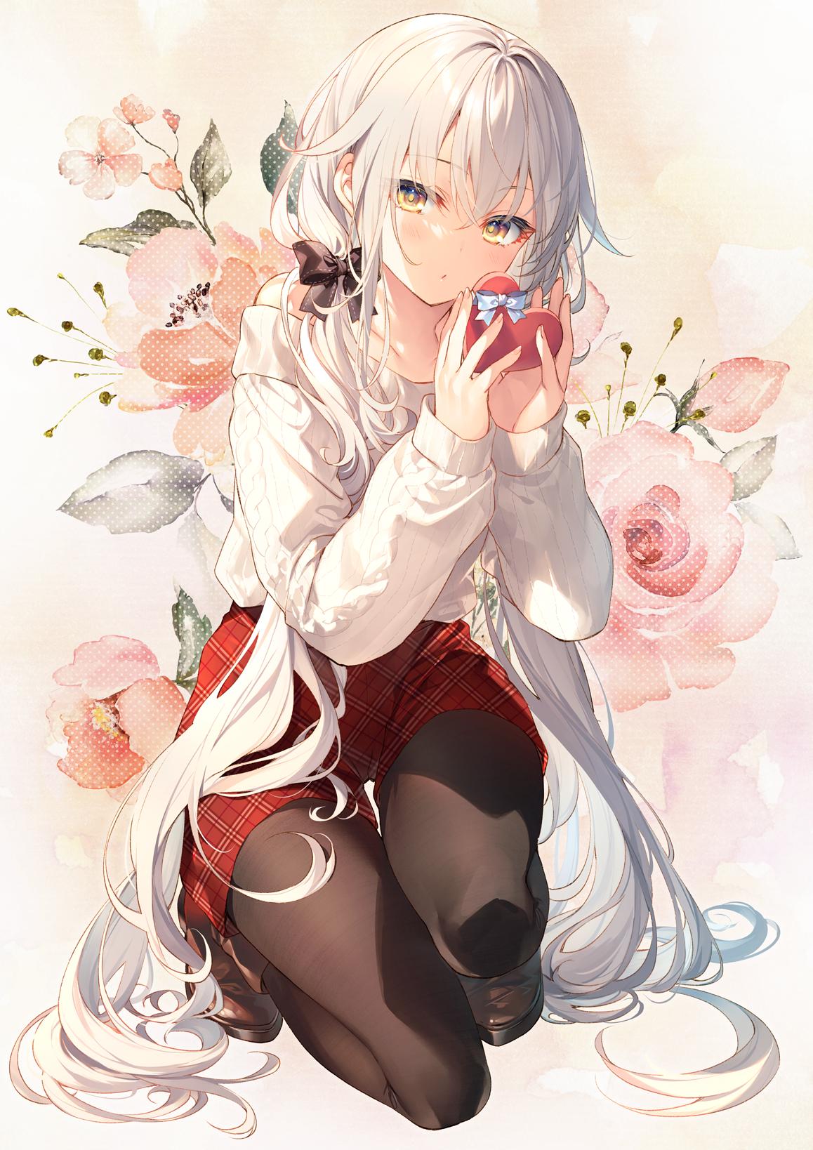 Anime 1158x1638 bangs gift hair bows kneeling long hair long sleeves looking at viewer pantyhose sweater twintails Valentine's Day white hair white sweater yellow eyes Toosaka Asagi shorts anime girls