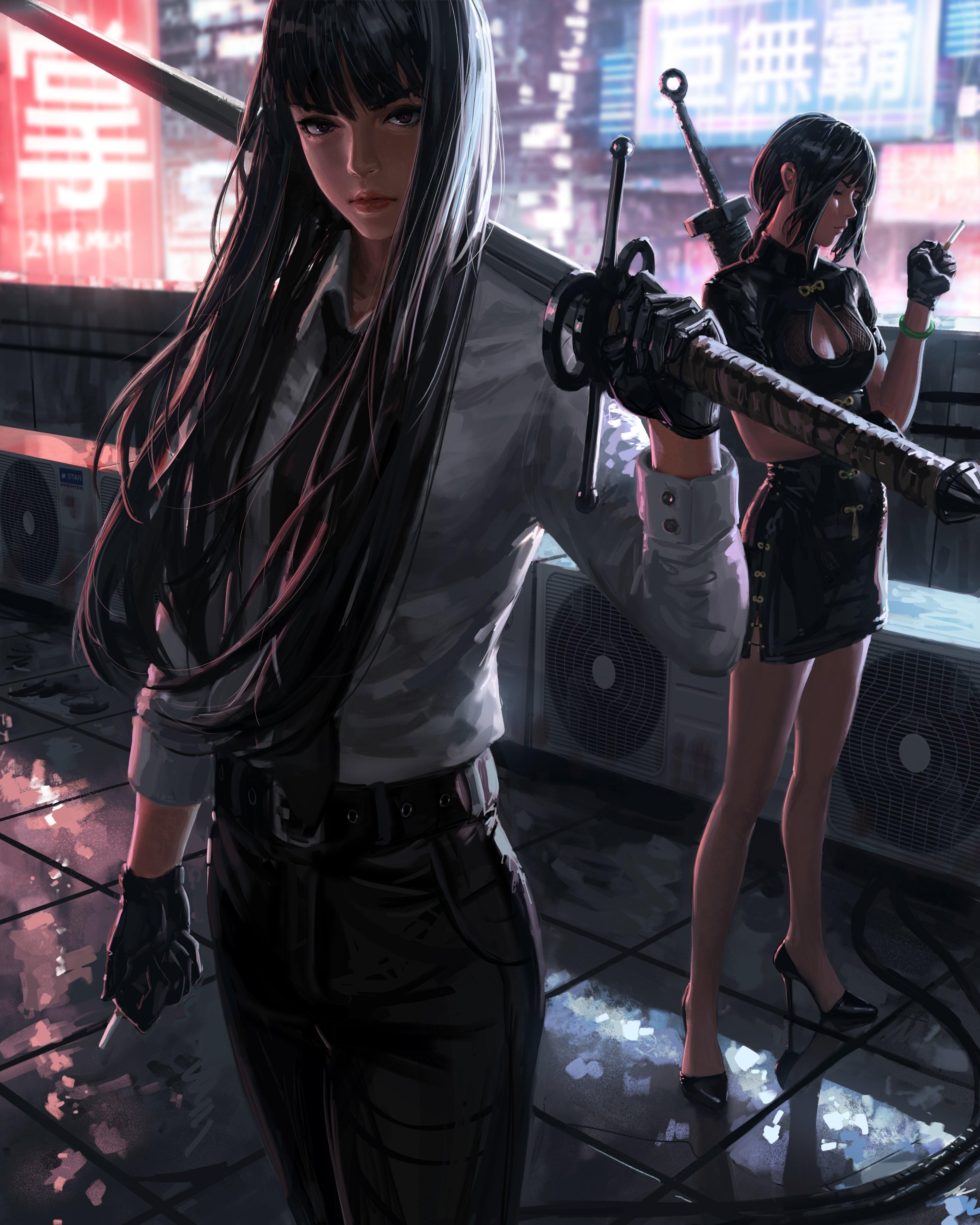 General 3277x4096 digital art female warrior Bad guys artwork GUWEIZ long sword sword katana