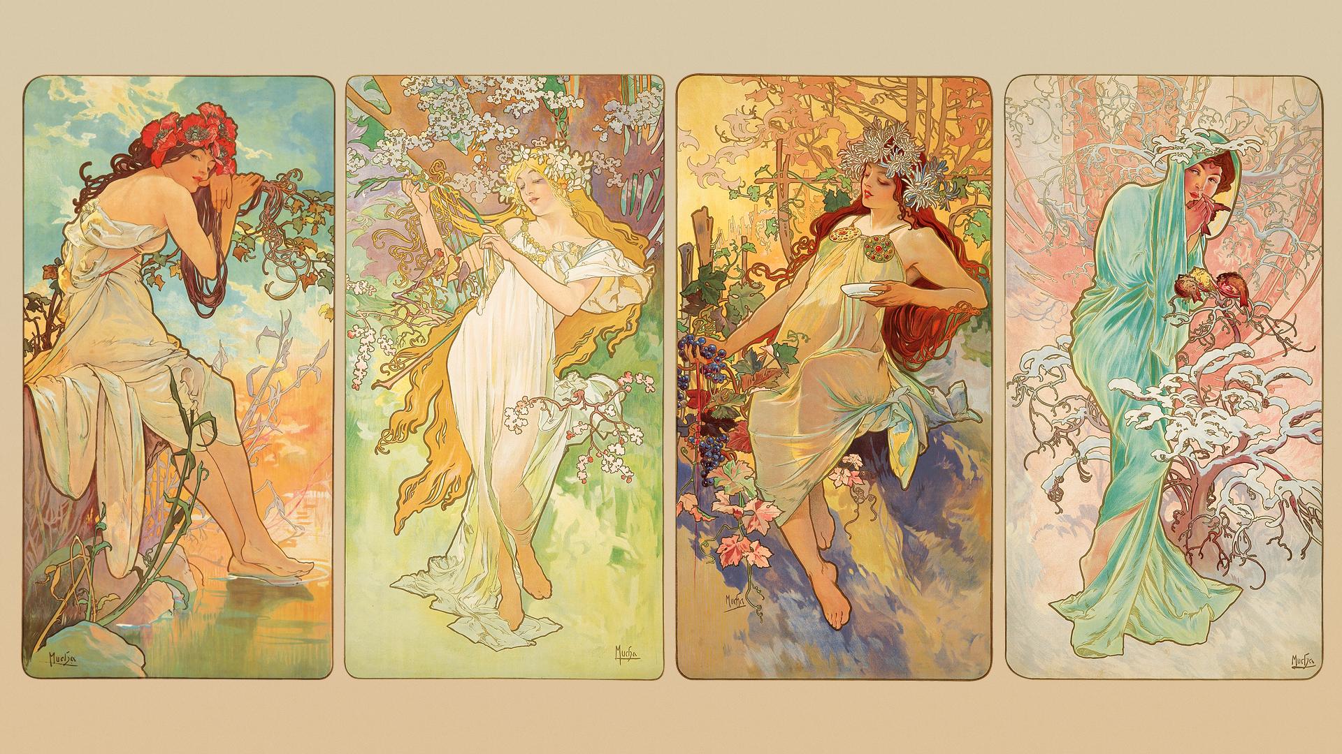 General 1920x1080 Alphonse Mucha Art Nouveau illustration traditional art