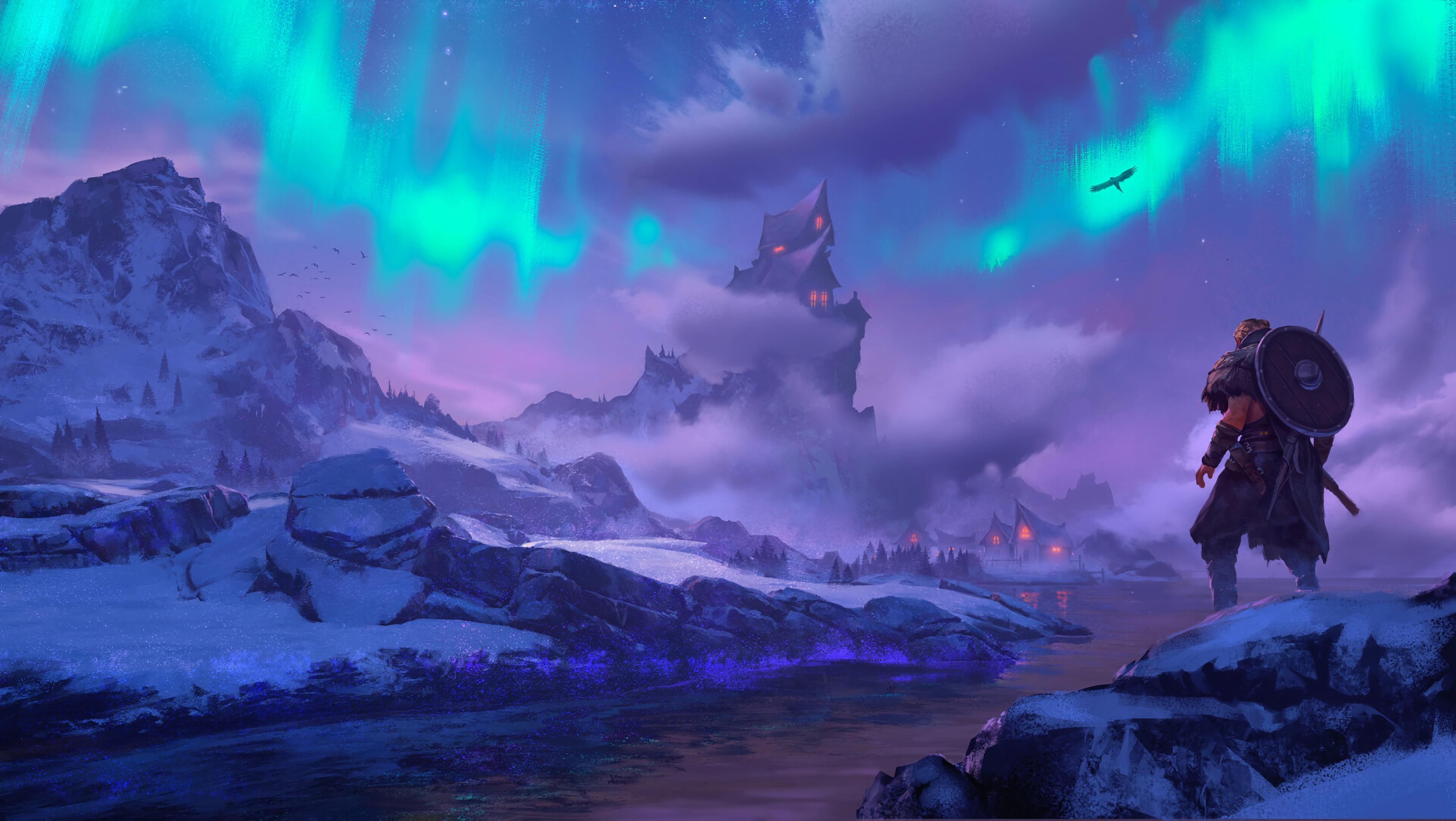 General 3840x2166 video games video game art digital art viking norse aurorae Assassin's Creed Assassin's Creed: Valhalla river birds