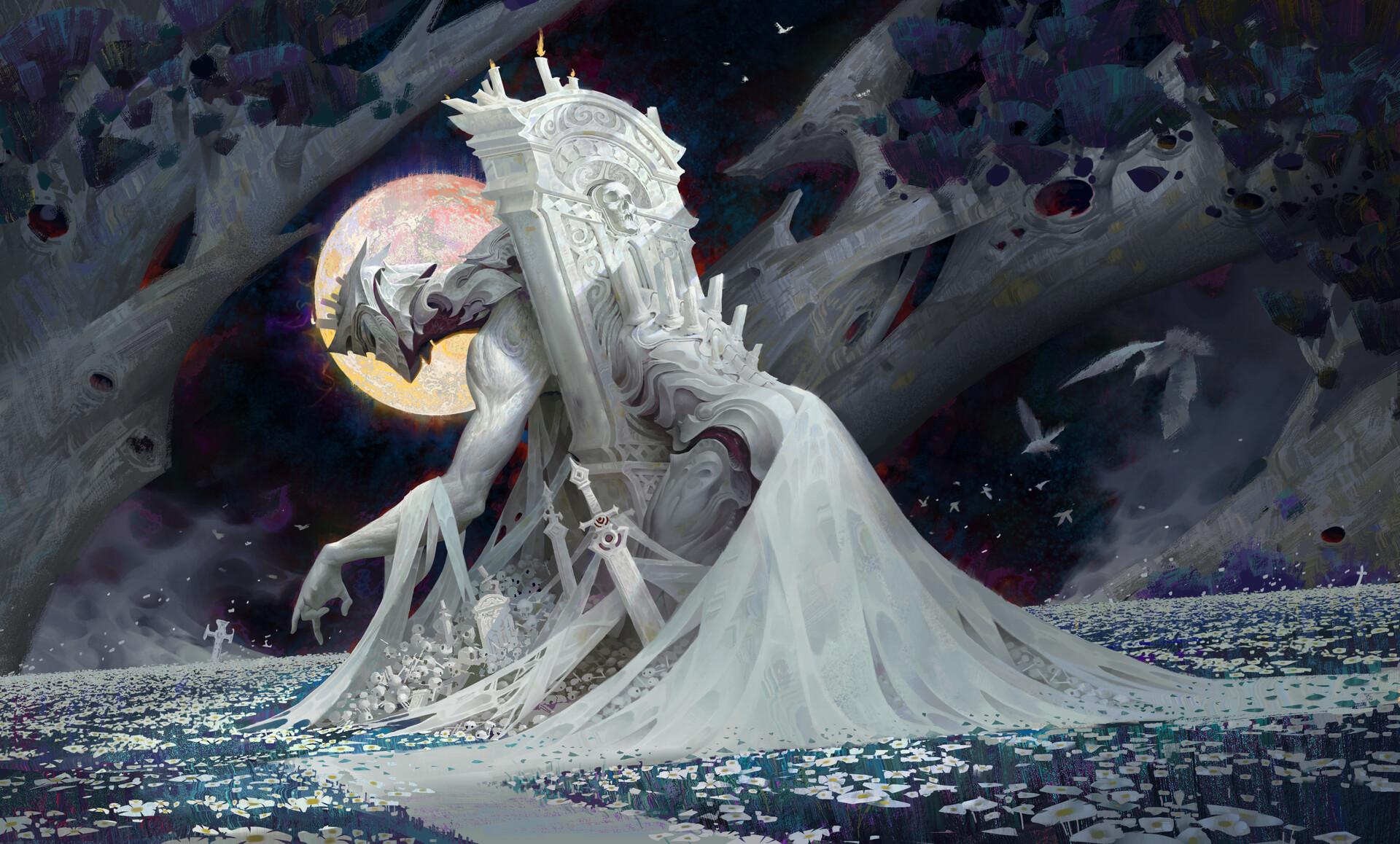 General 1920x1158 Ya lun digital art fantasy art sword Moon grave flowers birds skull
