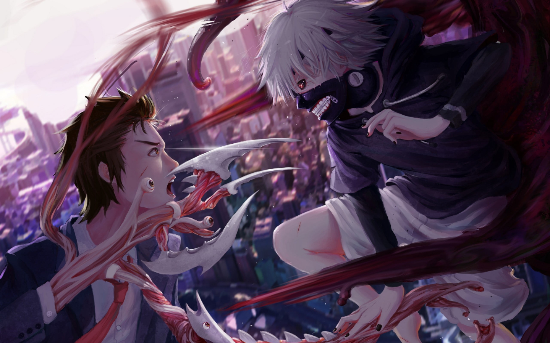Anime 1440x900 Tokyo Ghoul crossover Kaneki Ken anime boys Parasyte -the maxim- Izumi Shinichi brunette white hair