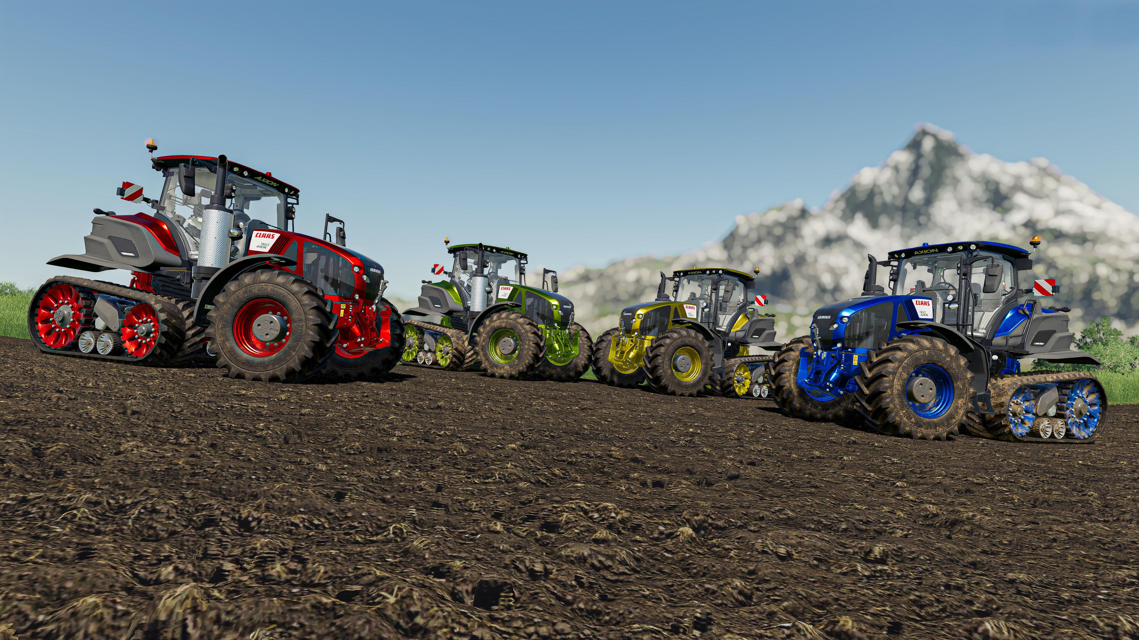 General 3840x2160 farm farming farming simulator tractors green red metal yellow blue RGB landscape fs19 farmers farming simulator 2019
