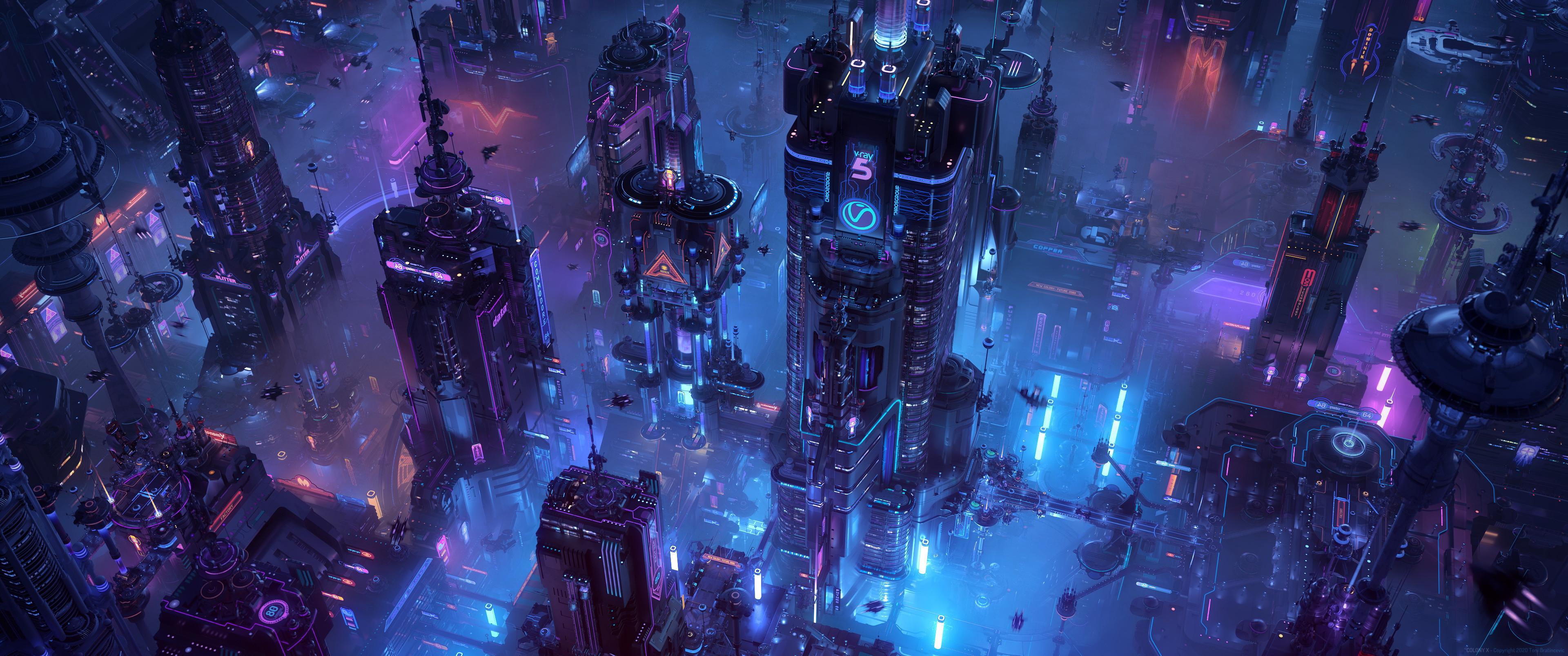 General 3840x1607 render CGI digital art science fiction futuristic city