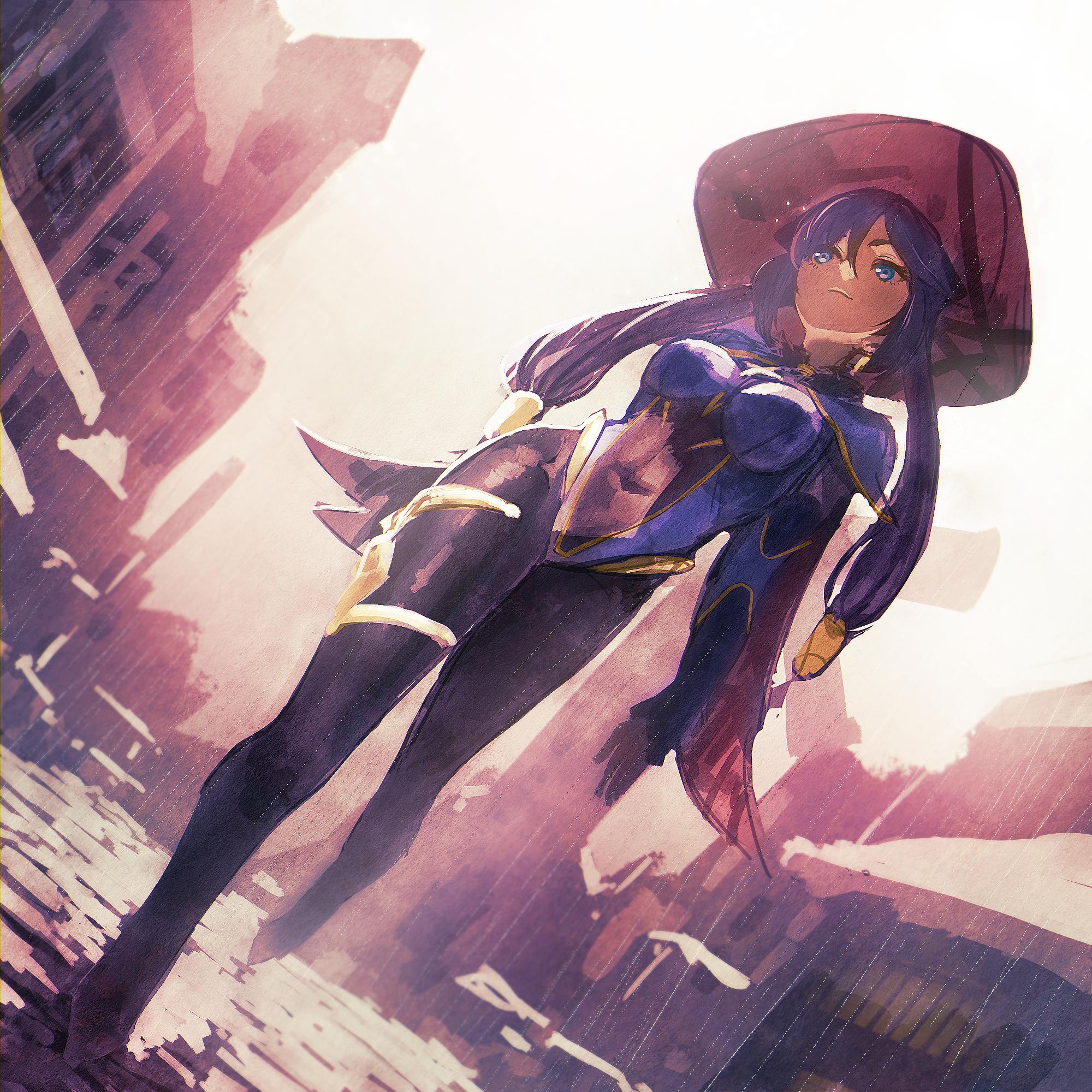 Anime 2000x2000 Genshin Impact Mona (Genshin Impact) anime hat women with hats walking outdoors city women outdoors urban long hair blue eyes purple hair bodysuit anime girls Kyou
