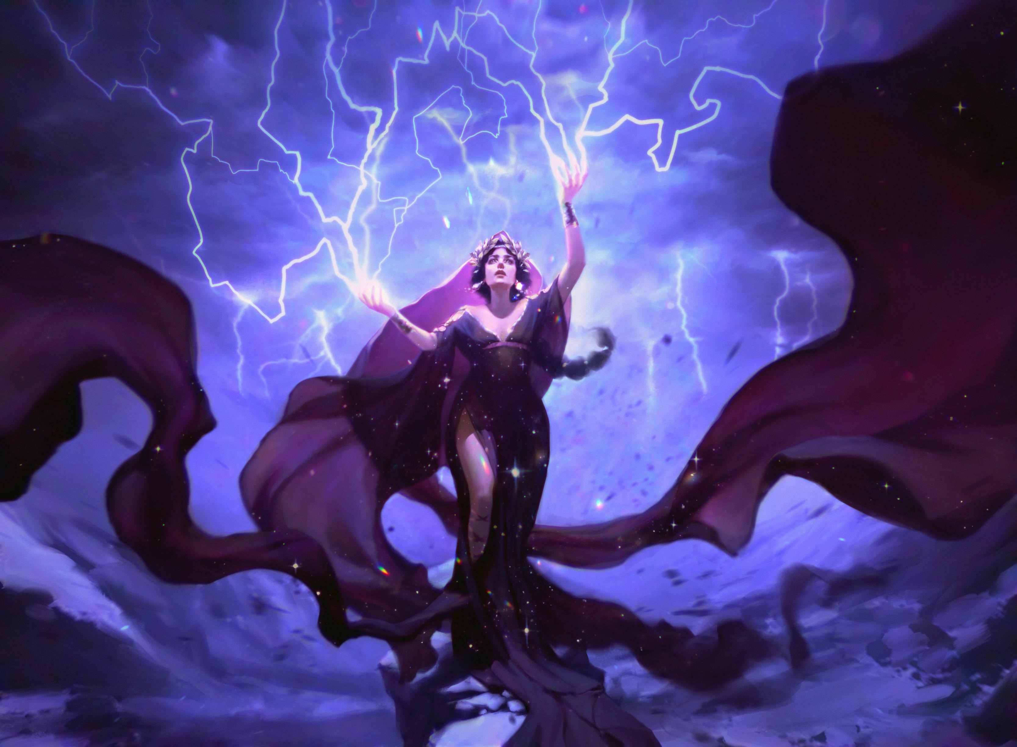 General 3334x2449 Pauline Voß Magic: The Gathering video games sparks lightning digital art fan art video game art drawing video game girls magic sorceress women ArtStation
