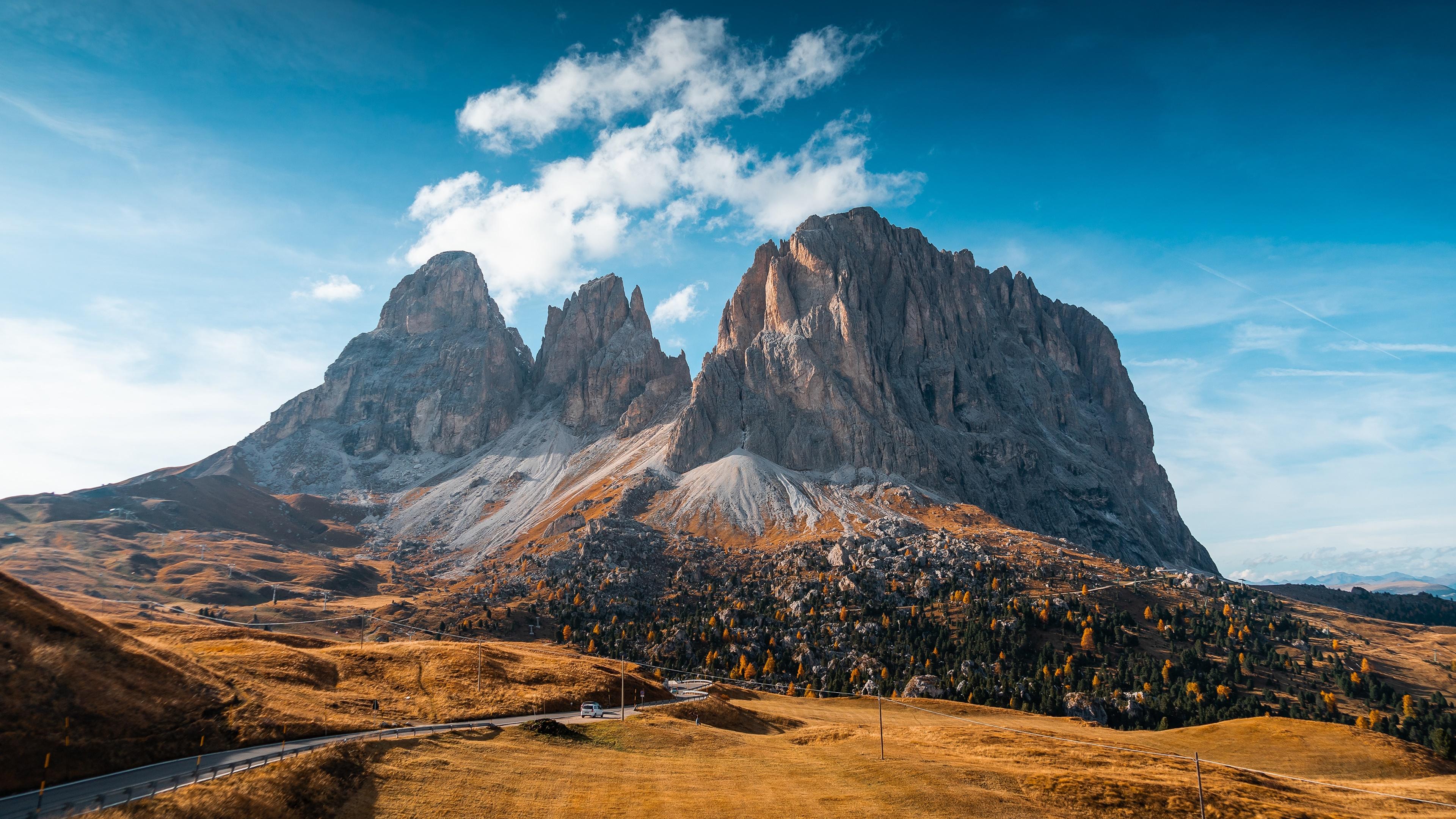 General 3840x2160 nature mountains sky road Dolomites (mountains) dolomite alps landscape rock rock formation