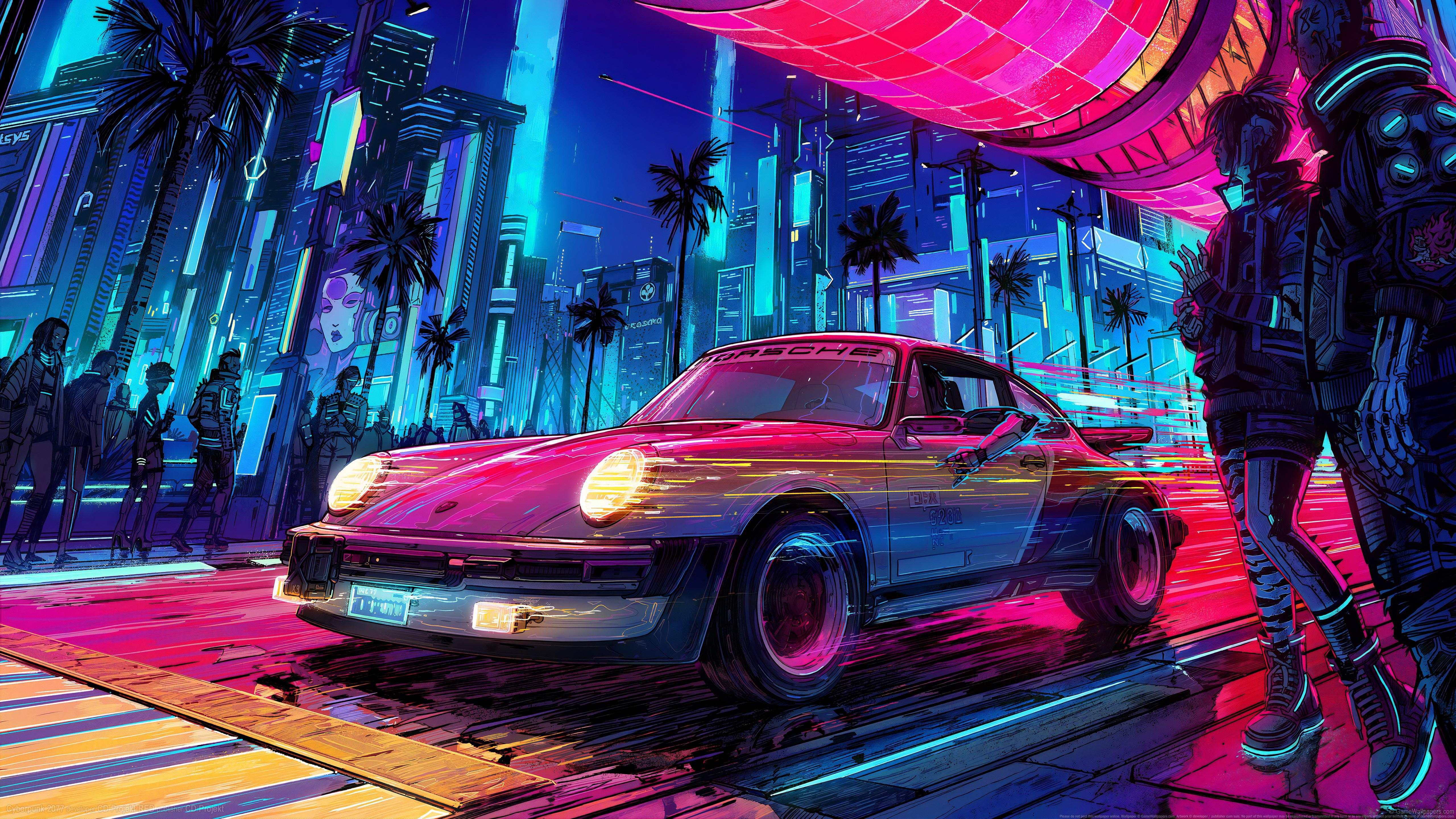 General 5120x2880 video games video game art digital art Porsche Retro car neon cyberpunk Cyberpunk 2077 watermarked