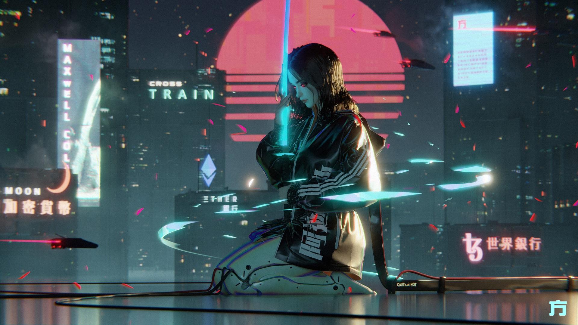 General 1920x1080 artwork fantasy art science fiction women cyberpunk