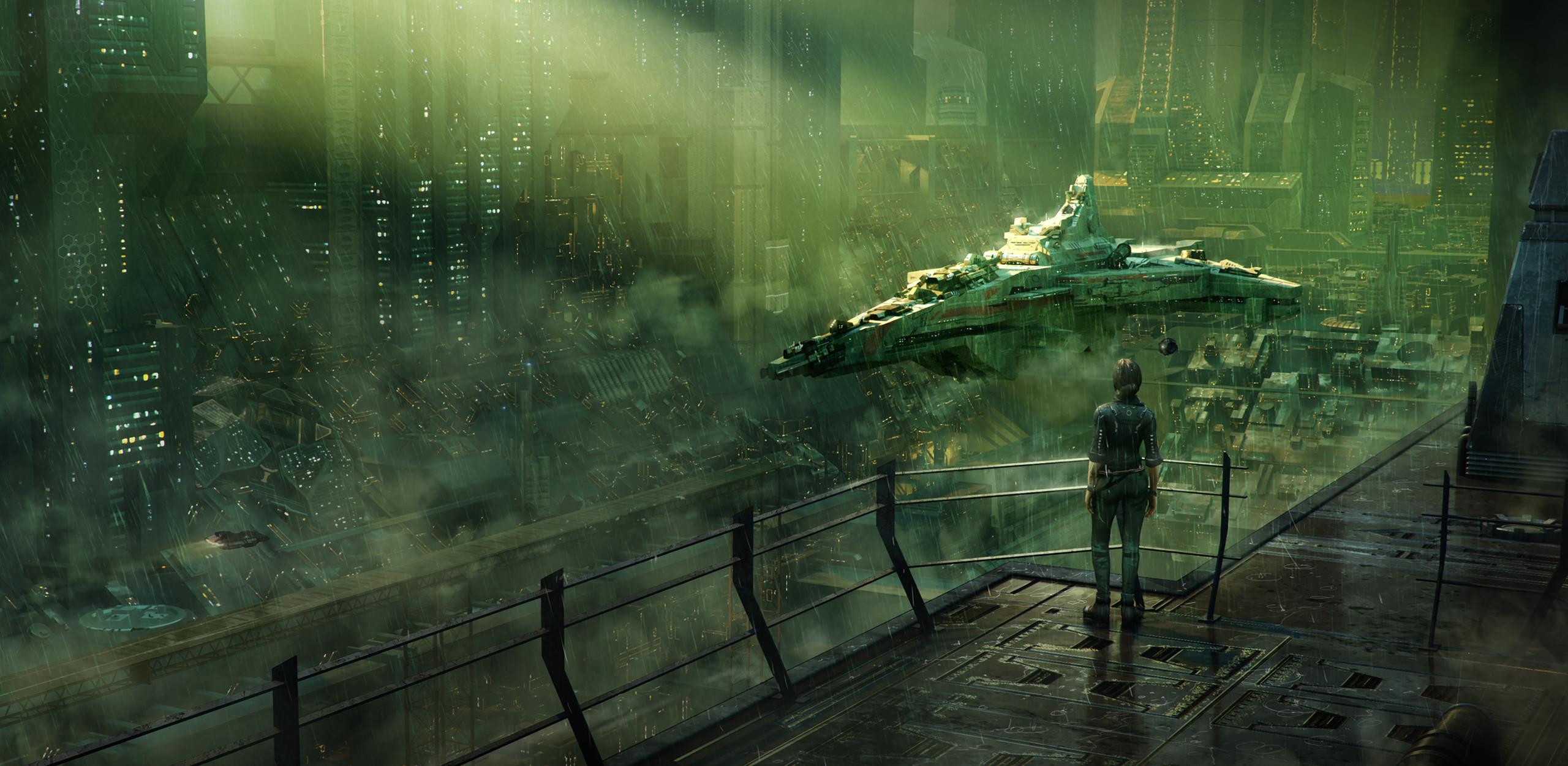 General 2560x1251 futuristic artwork ship digital science fiction futuristic city