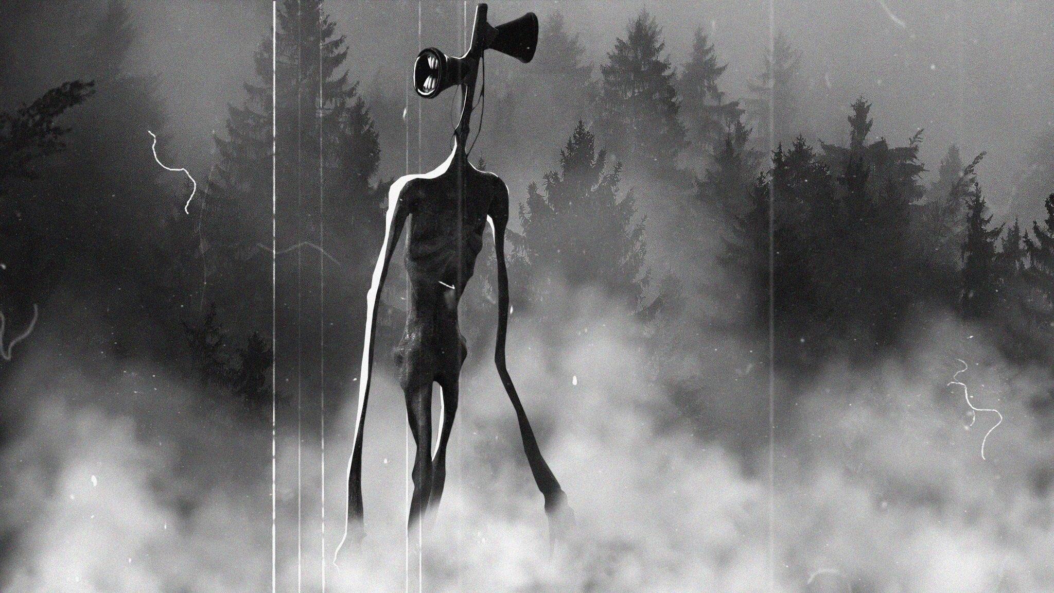 General 2048x1152 Siren Head surreal artwork monochrome