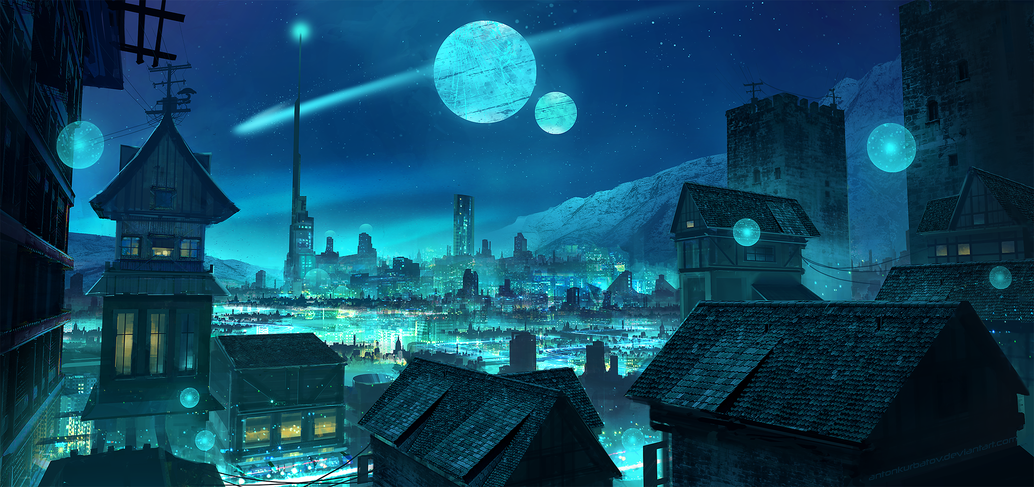 General 2110x995 digital digital art artwork drawing digital painting illustration fantasy art blue cyan Moon moonlight landscape moon rays city cityscape futuristic futuristic city lights city lights architecture building tower neon sky science fiction skyscape neon lights town Anton Kurbatov