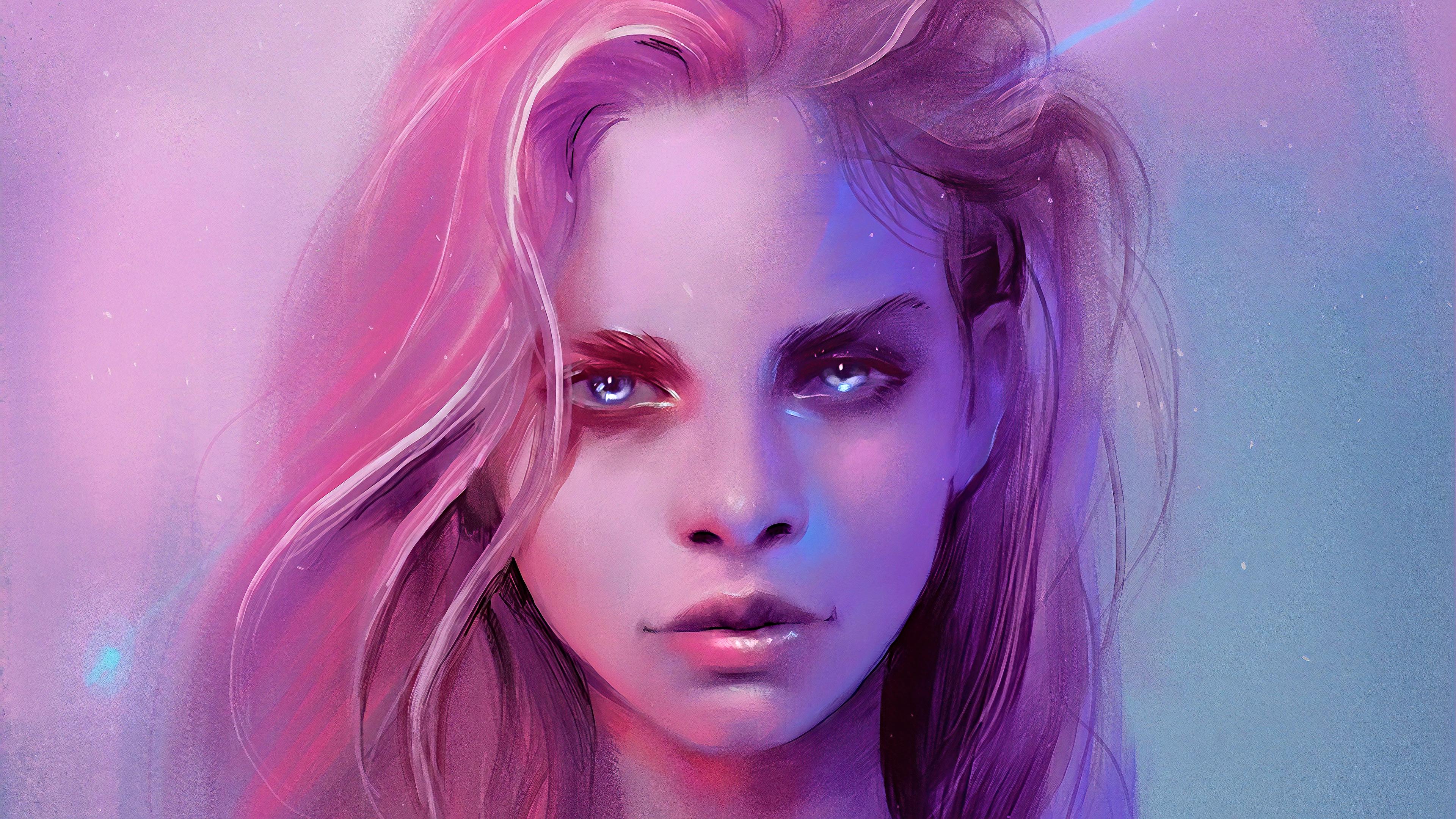 General 3840x2160 digital art concept art artwork fantasy art fan art face cyber portrait women fantasy girl pink