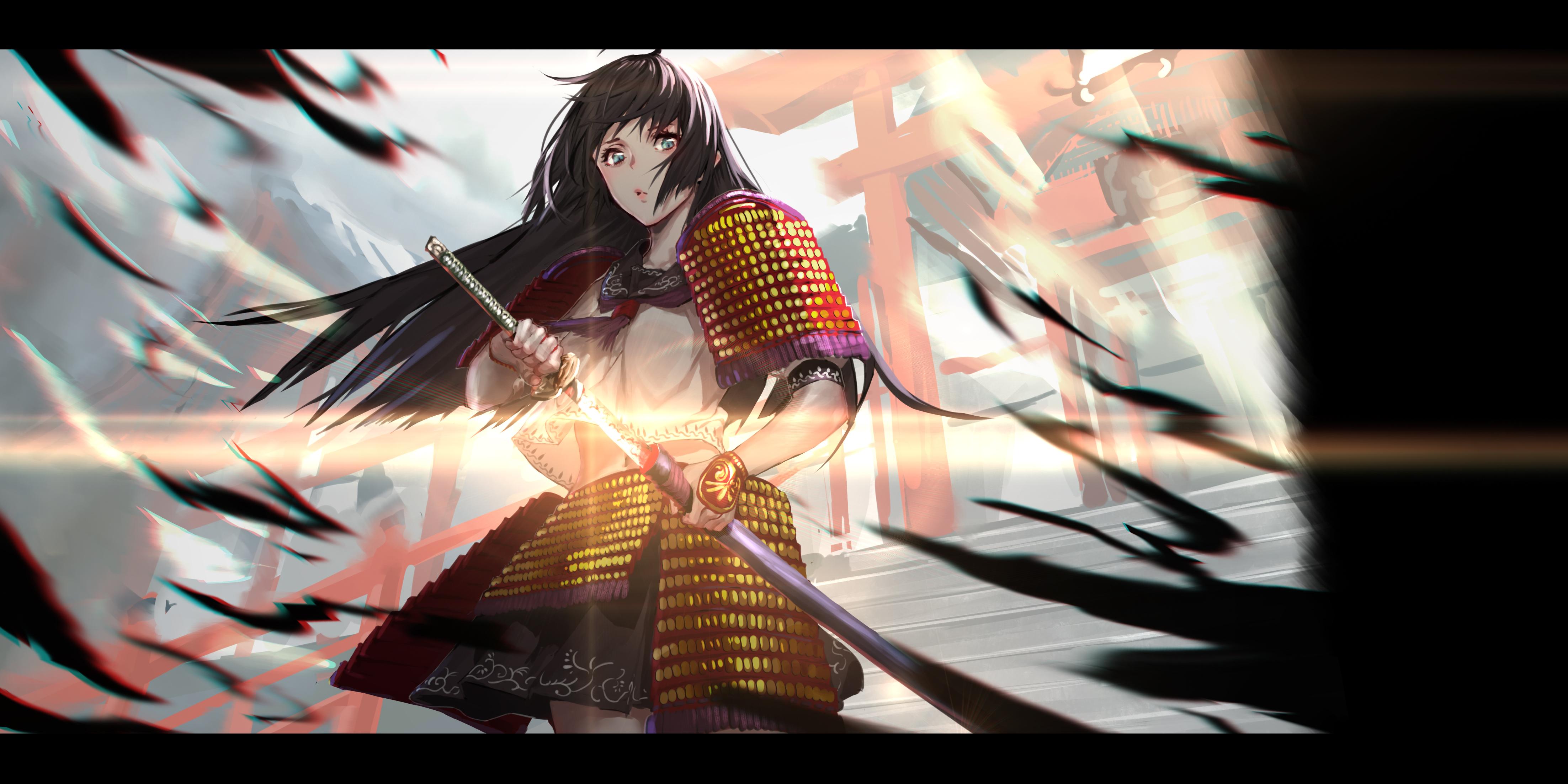 Anime 4409x2205 women black hair long hair sailor uniform schoolgirl artwork digital art fantasy art armor samurai katana windy fantasy girl warrior looking at viewer illustration 2D original characters Rolua Noa belly anime girls anime lens flare