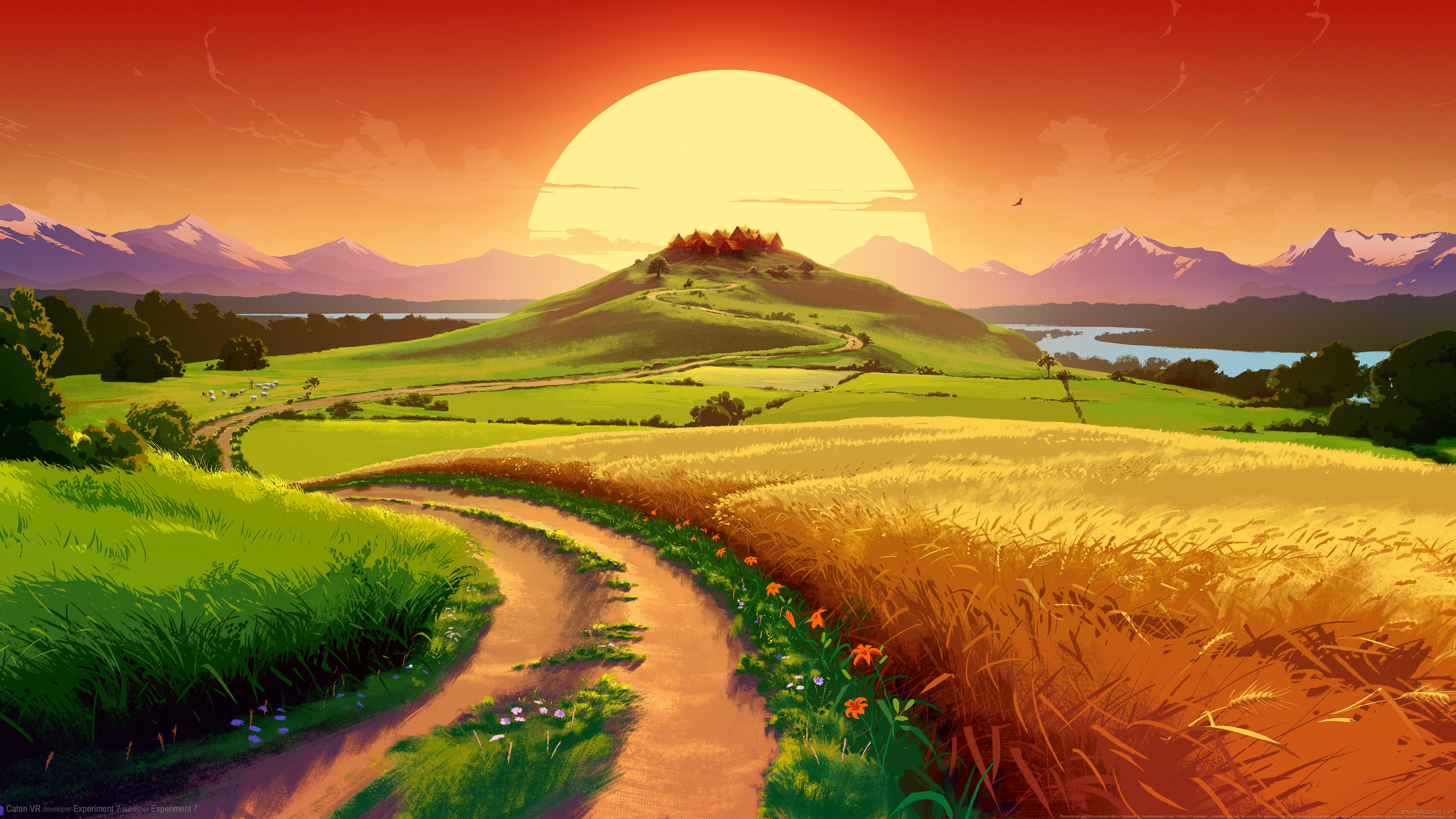 General 5120x2880 video games digital art field landscape grass Sun sky river mountains colorful fantasy art catan