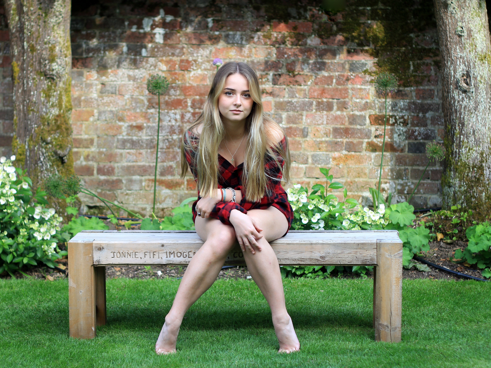 People 1600x1200 women model blonde long hair women outdoors bench barefoot sitting grass looking at viewer plaid shirt necklace bricks wall plants Connie Bowes backyard Unexpectedtales tiptoe on bench crucifix necklace pointed toes