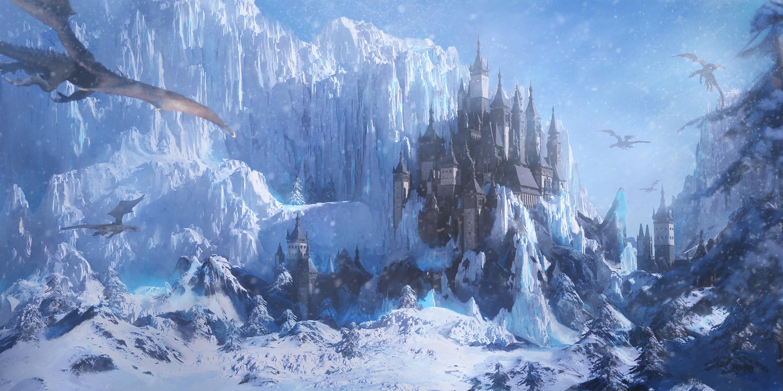 General 3000x1500 Arthur Yuan digital art fantasy art dragon castle snow ice cliff mountains trees