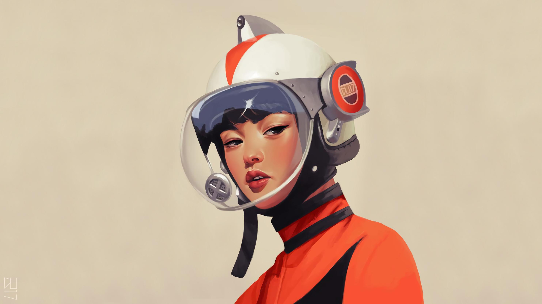 General 2966x1668 astronaut vintage retro style retro science fiction futuristic artwork digital art illustration Asian simple background