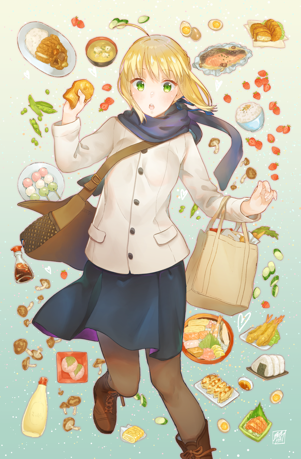 Anime 1051x1600 Fate Series Fate/Stay Night anime girls Saber Arturia Pendragon anime girls eating 2D food thighs pantyhose blond hair long hair ahoge brown boots small boobs green eyes fan art open mouth