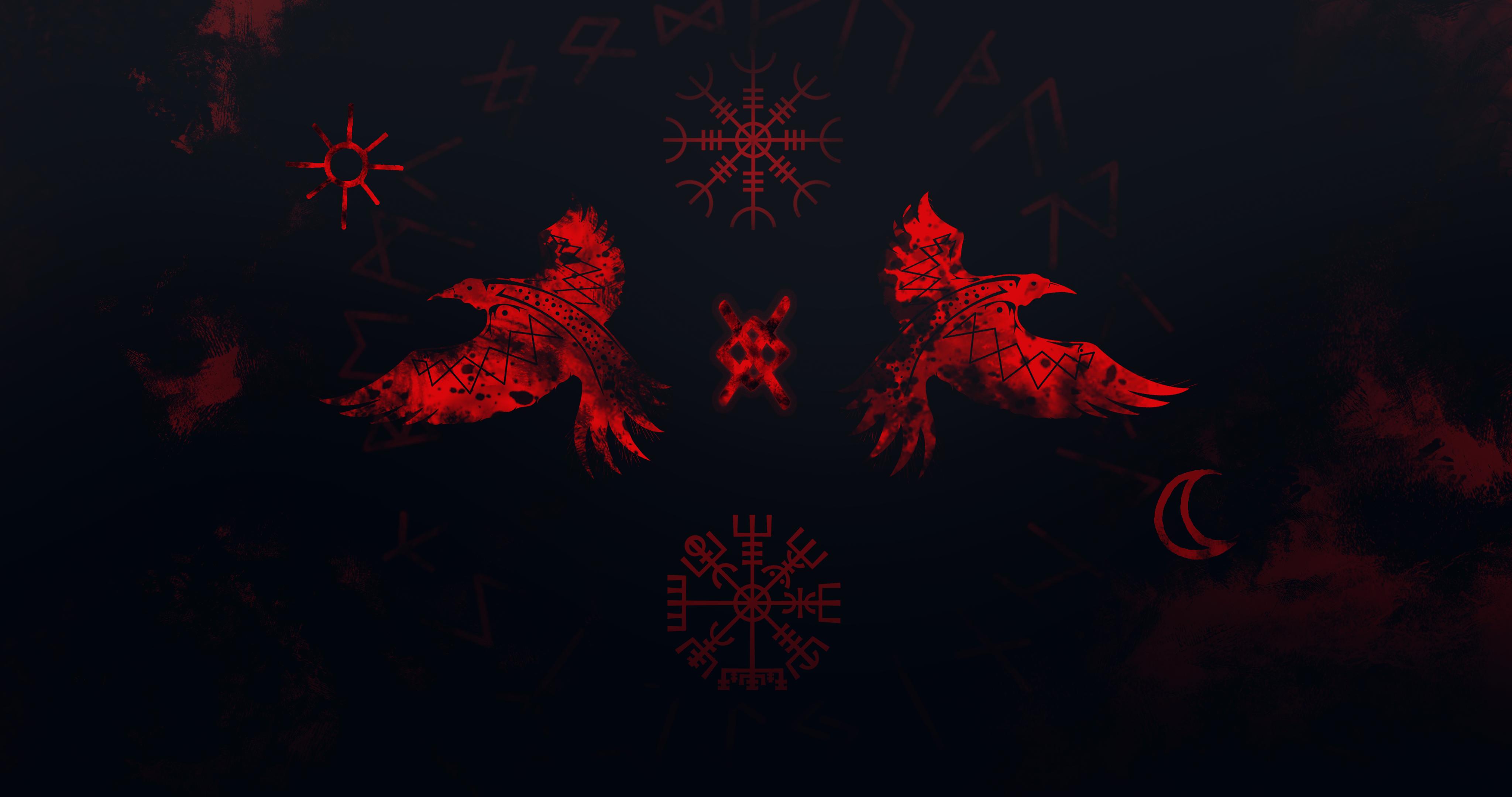 General 4096x2160 Huginn Muninn Vikings runes raven red Odin