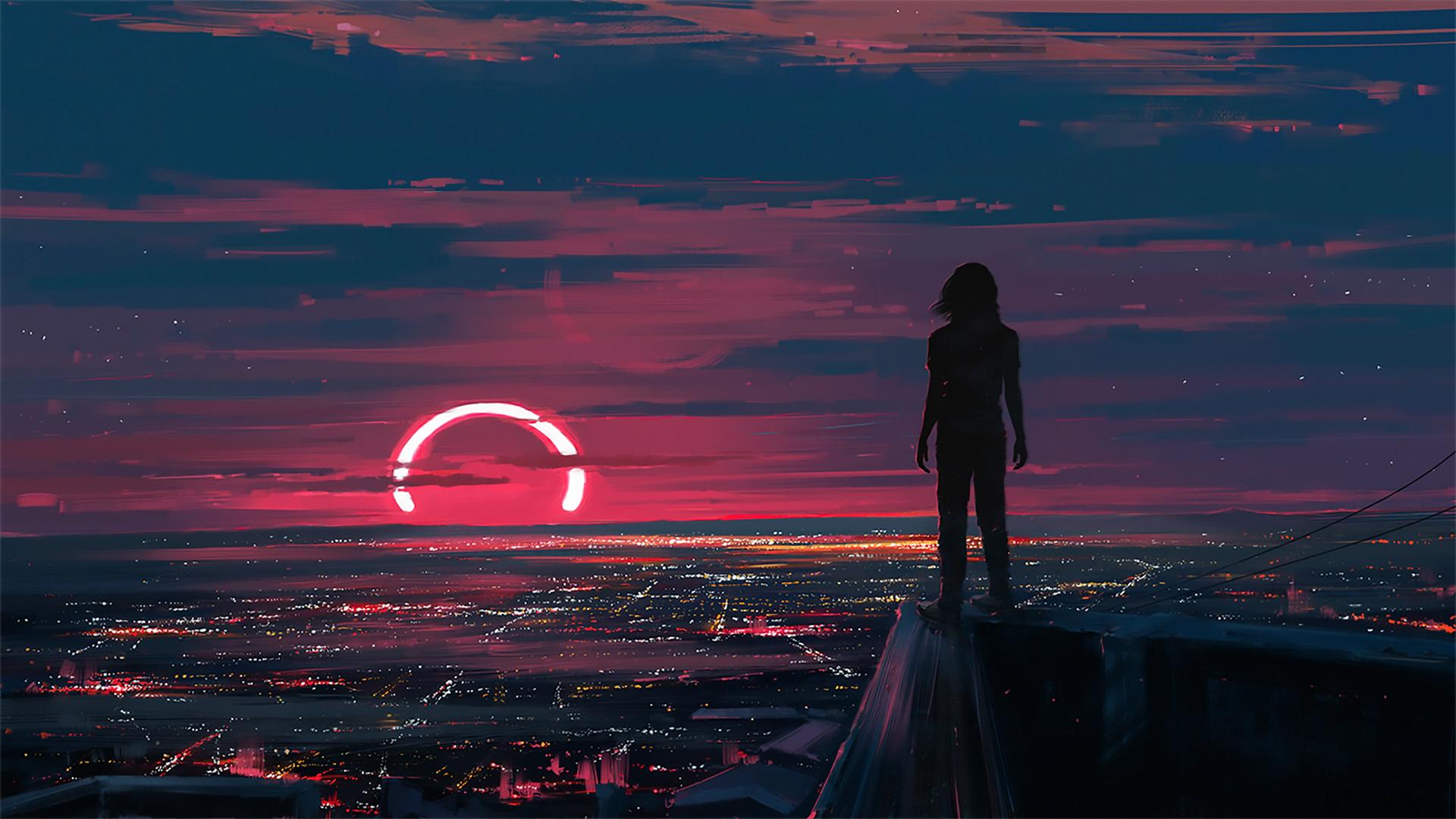 General 1920x1080 painting digital art drawing sunset Aenami