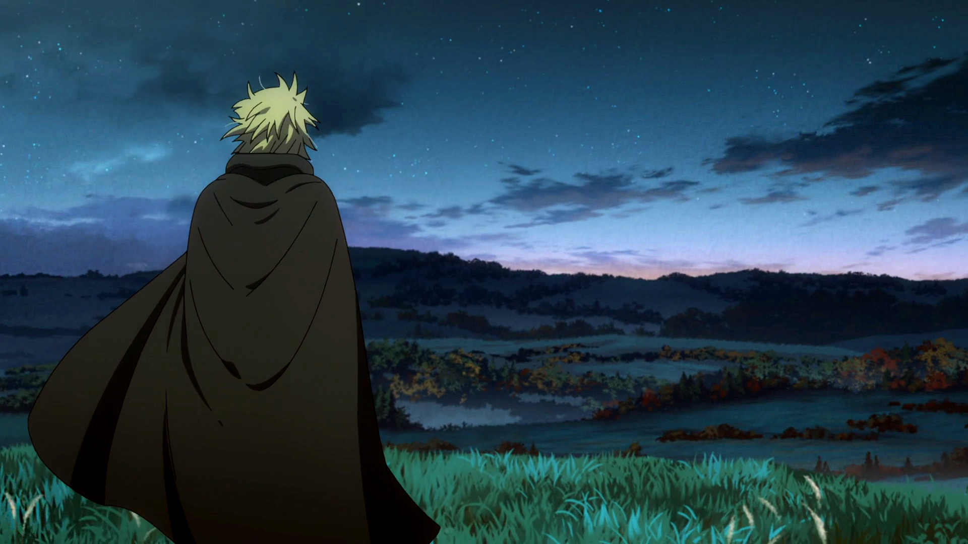 Anime 1920x1080 Vinland Saga landscape dawn sky clouds England anime manga hills trees stars Makoto Yukimura Wit Studio Thorfinn Vikings standing yellow hair alone grass cloaks