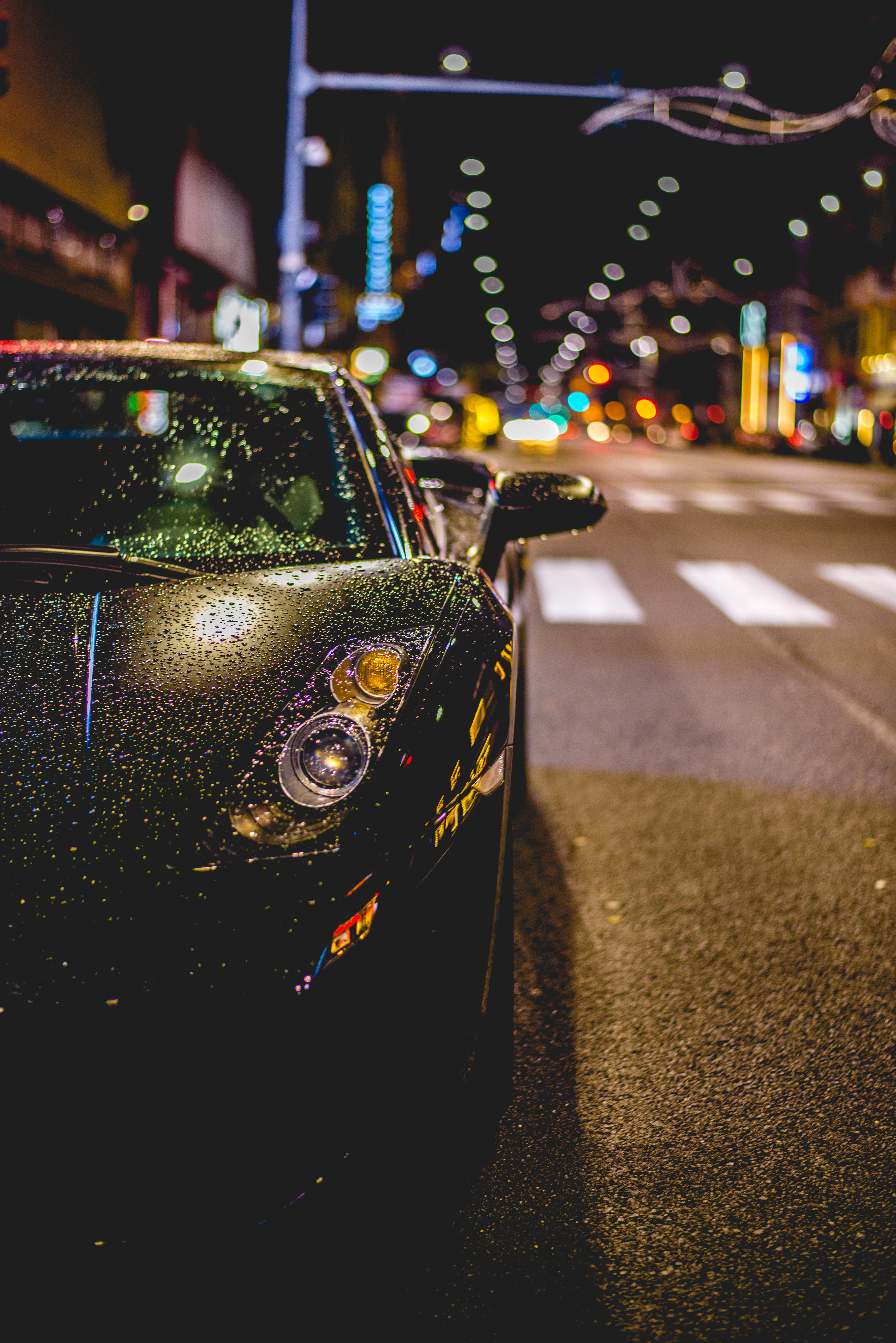 General 4912x7360 car street night road Lamborghini Aventador J black cars lights bokeh