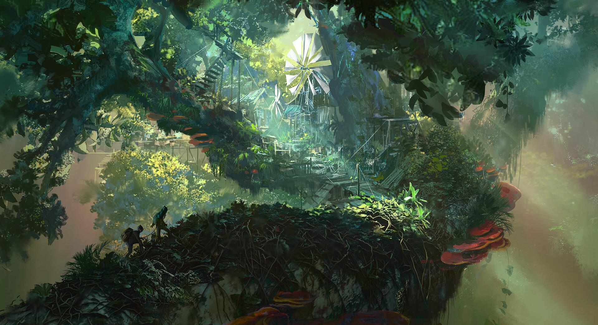 General 1920x1045 tree house treehouse treehouses jungle digital art artwork green
