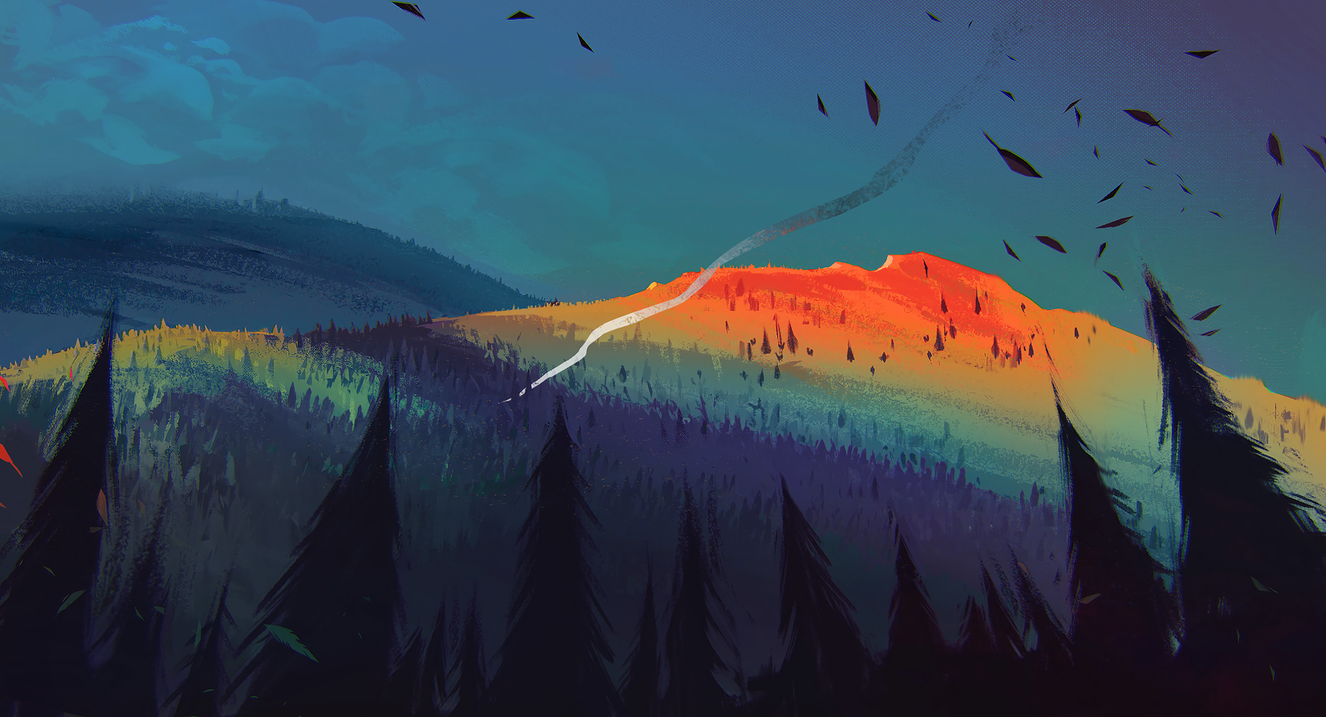 General 1920x1038 mountains trees smoke leaves artwork digital art forest