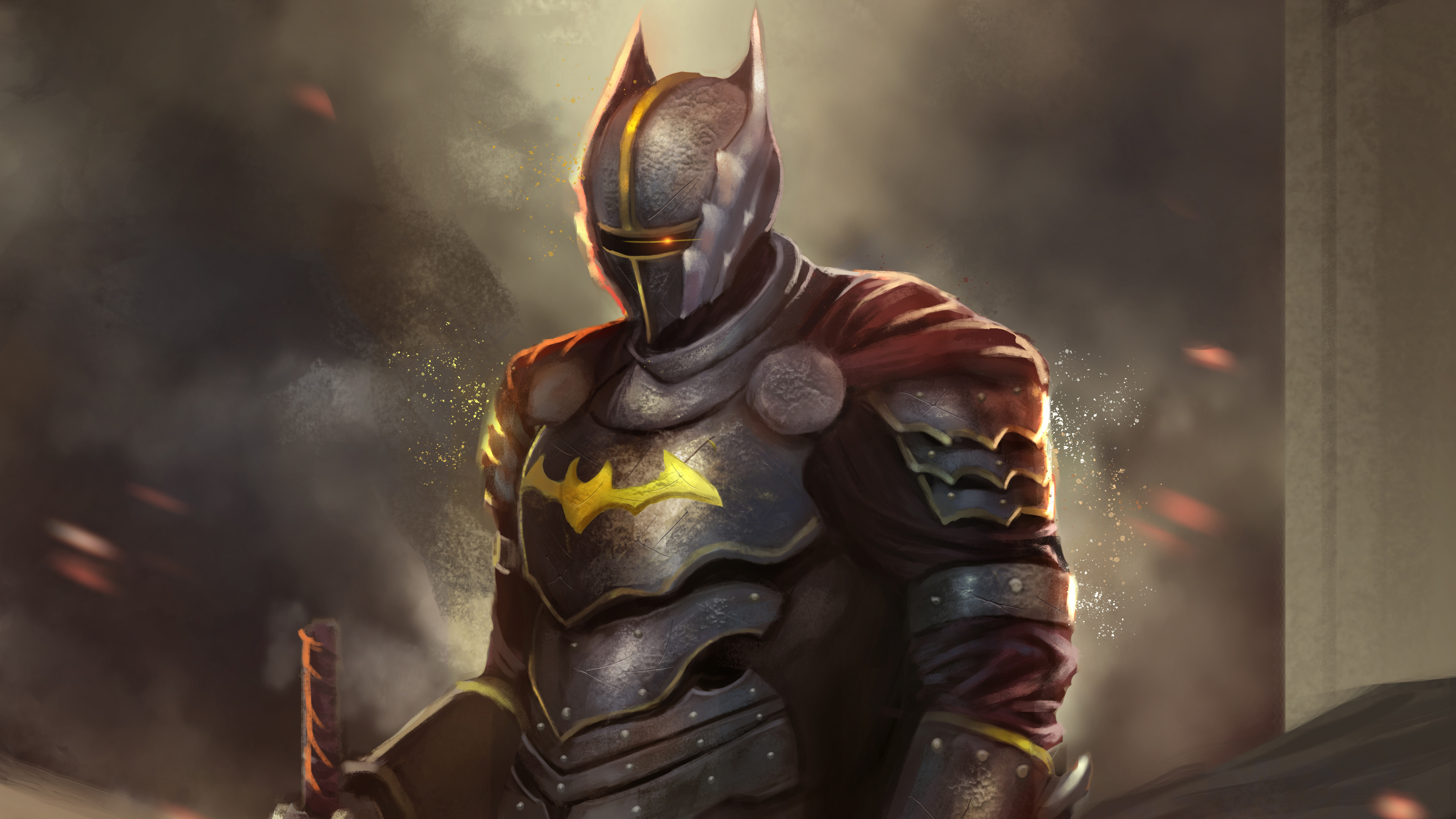 General 3508x1973 digital digital art artwork drawing painting digital painting fantasy art knight warrior fantasy warrior Batman DC Comics DC Universe medieval Batman: The Dark Knight The Dark Knight superhero