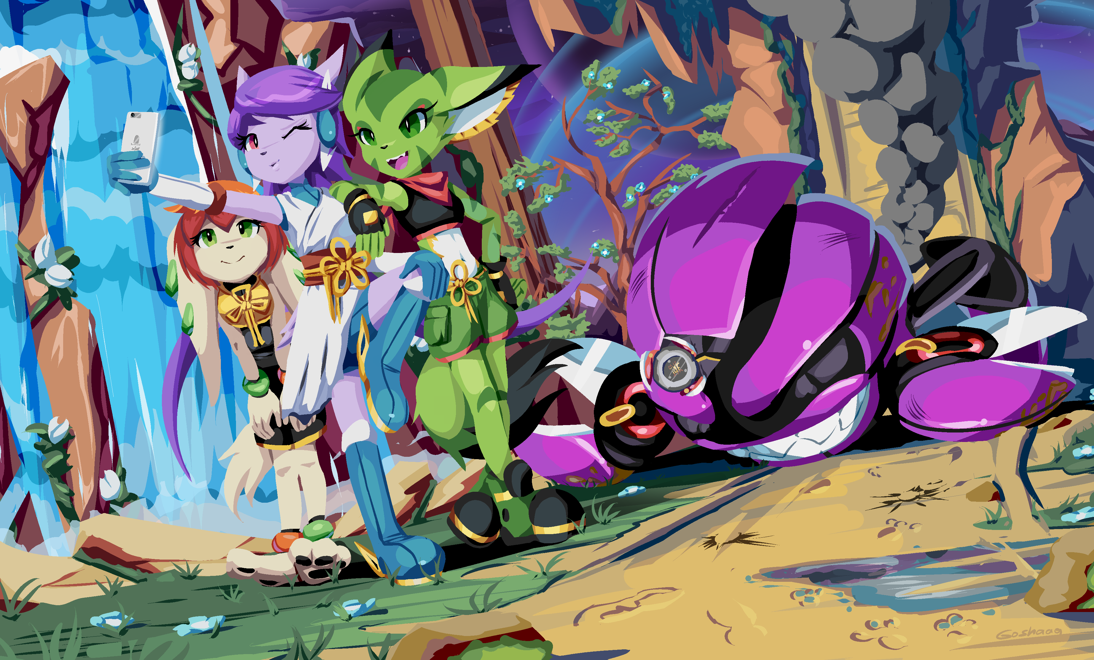 General 3690x2228 Freedom Planet video game art video game characters video game girls furry Carol Tea (Freedom planet) Milla Basset (Freedom planet) Sash Lilac (Freedom planet) Anthro