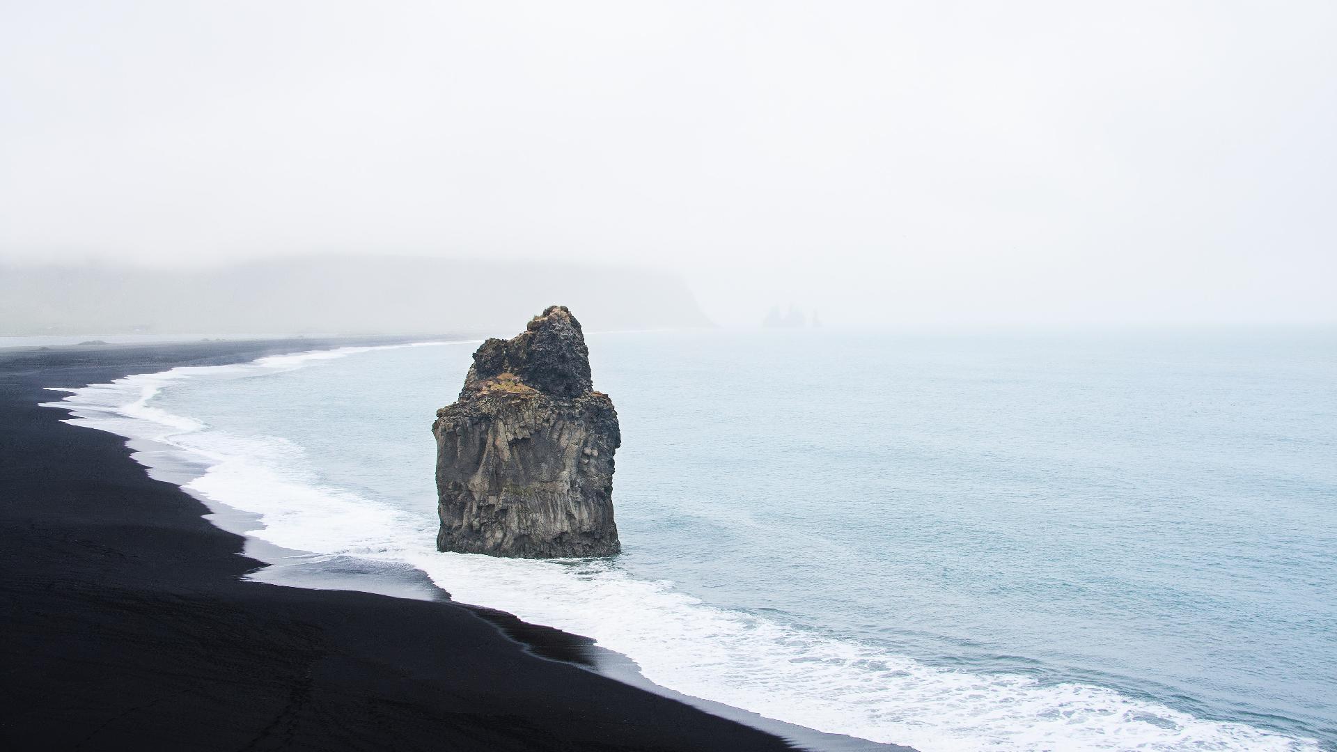 General 1920x1080 nature landscape coast beach water sea rocks island mist black sand vik Iceland