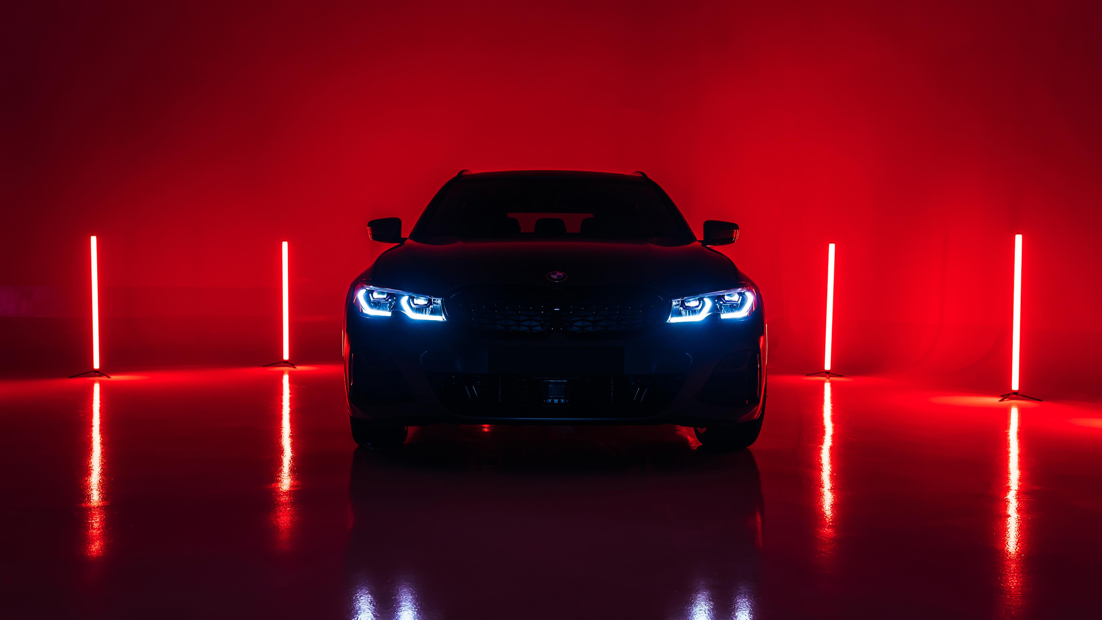 General 3840x2160 BMW M340i vehicle car low light Headlights red light reflection