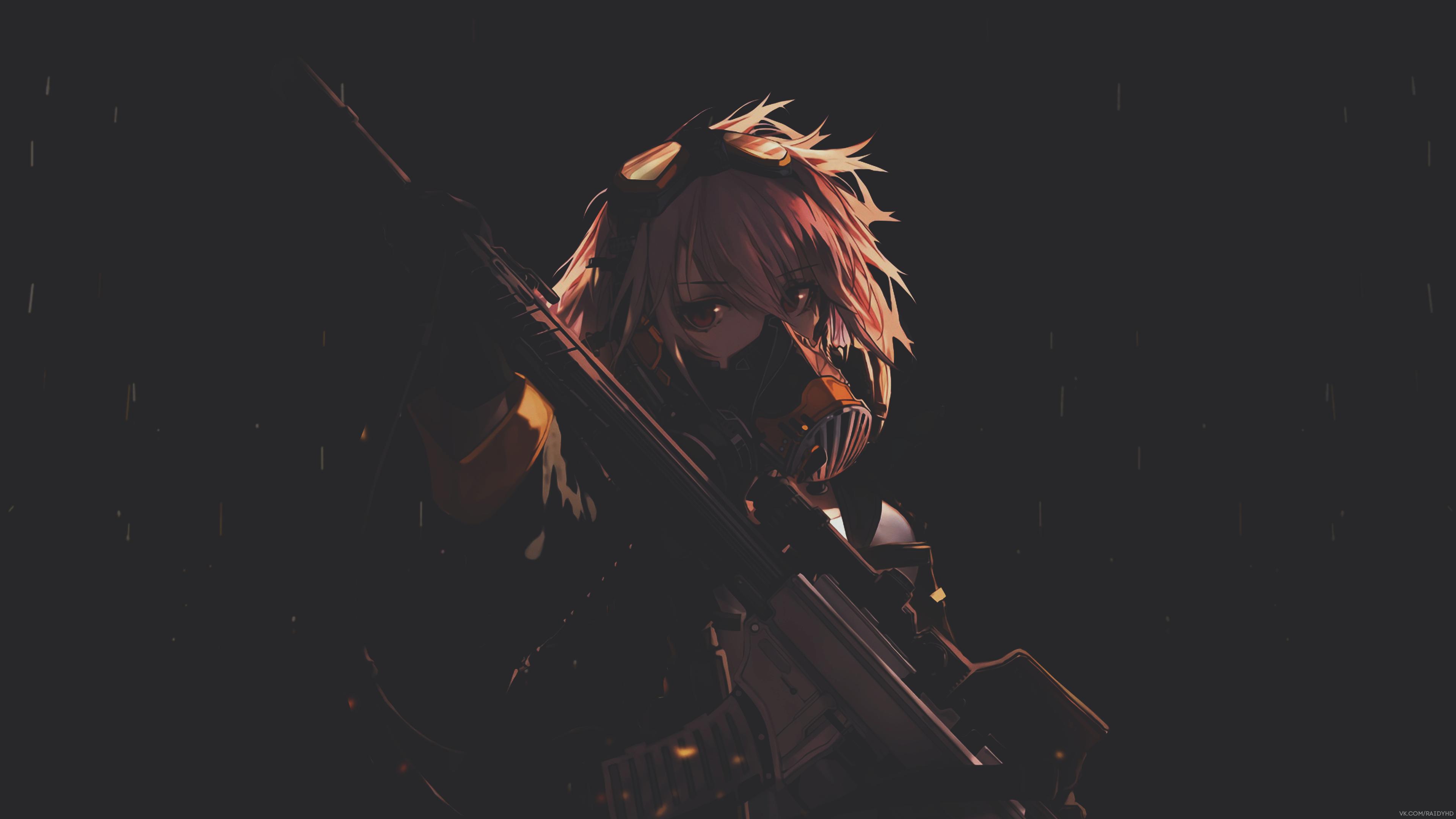 Anime 3840x2160 anime anime girls mask dark weapon simple background black background gun girls with guns