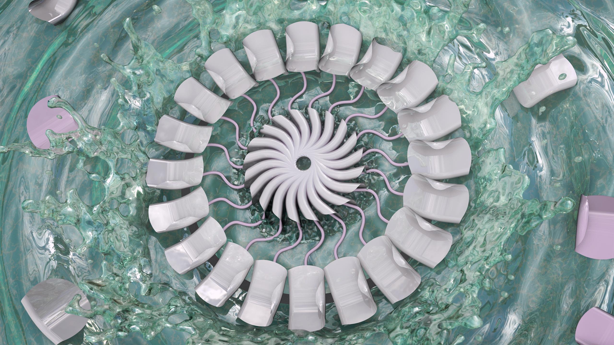 General 2560x1440 abstract 3D Abstract water splash splashes Twist fractal liquid water water drops