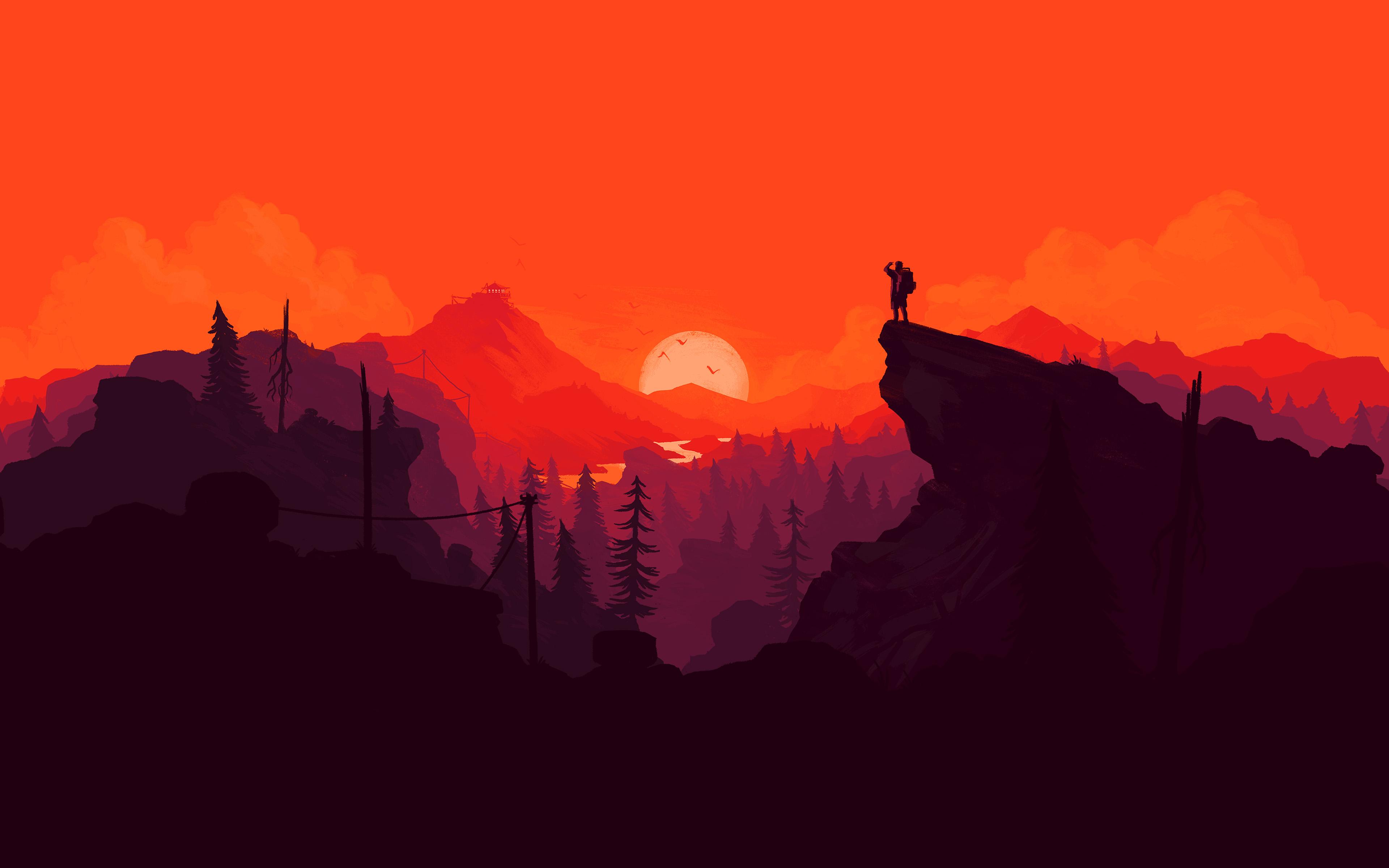 General 3840x2400 illustration landscape digital art mountains Firewatch video games nature artwork minimalism hiking sunset simple background orange painting