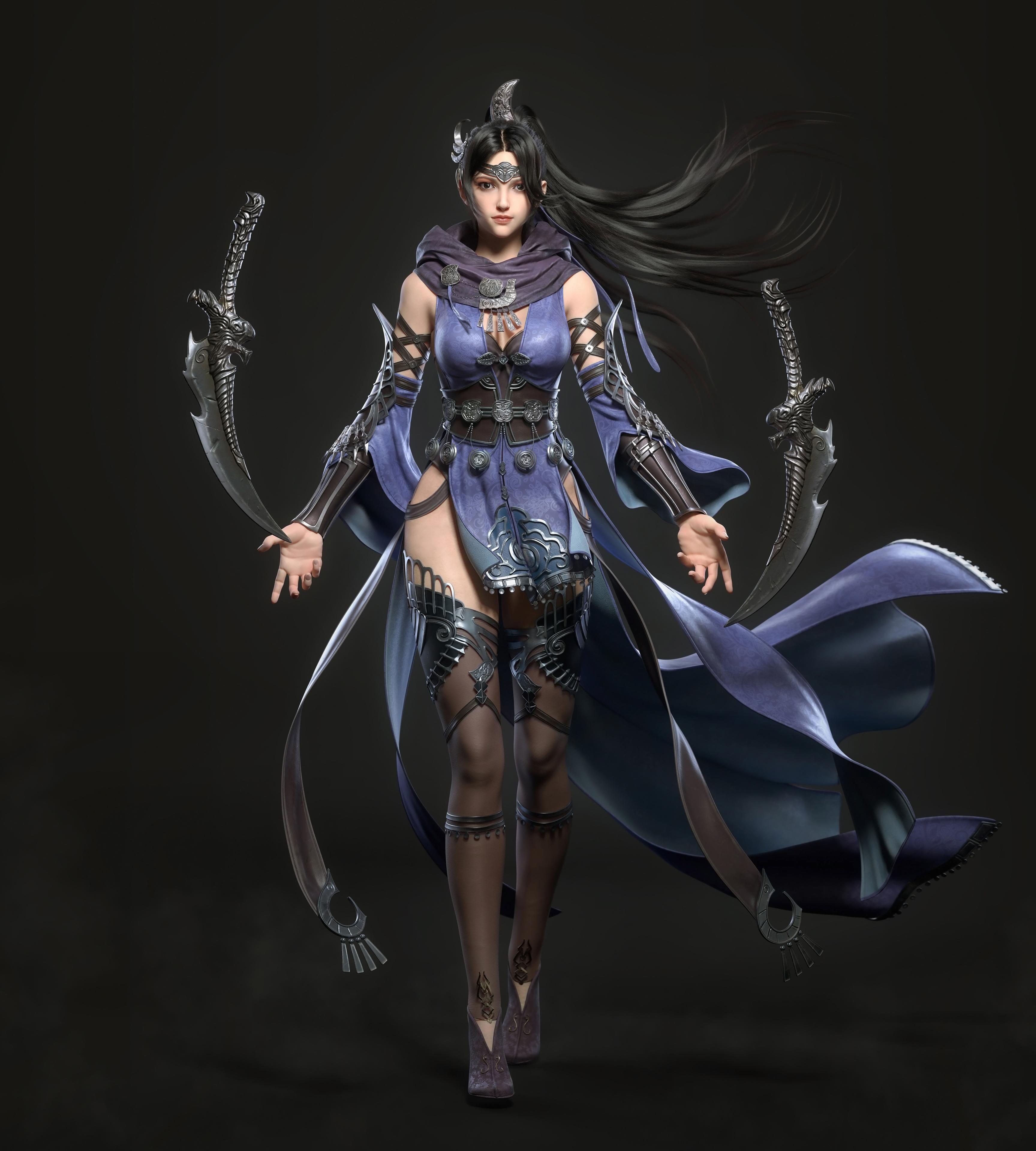 General 3455x3840 CGI women dark hair warrior long hair wind hair accessories dress armor blue clothing thigh-highs weapon dagger walking frontal view Cifangyi