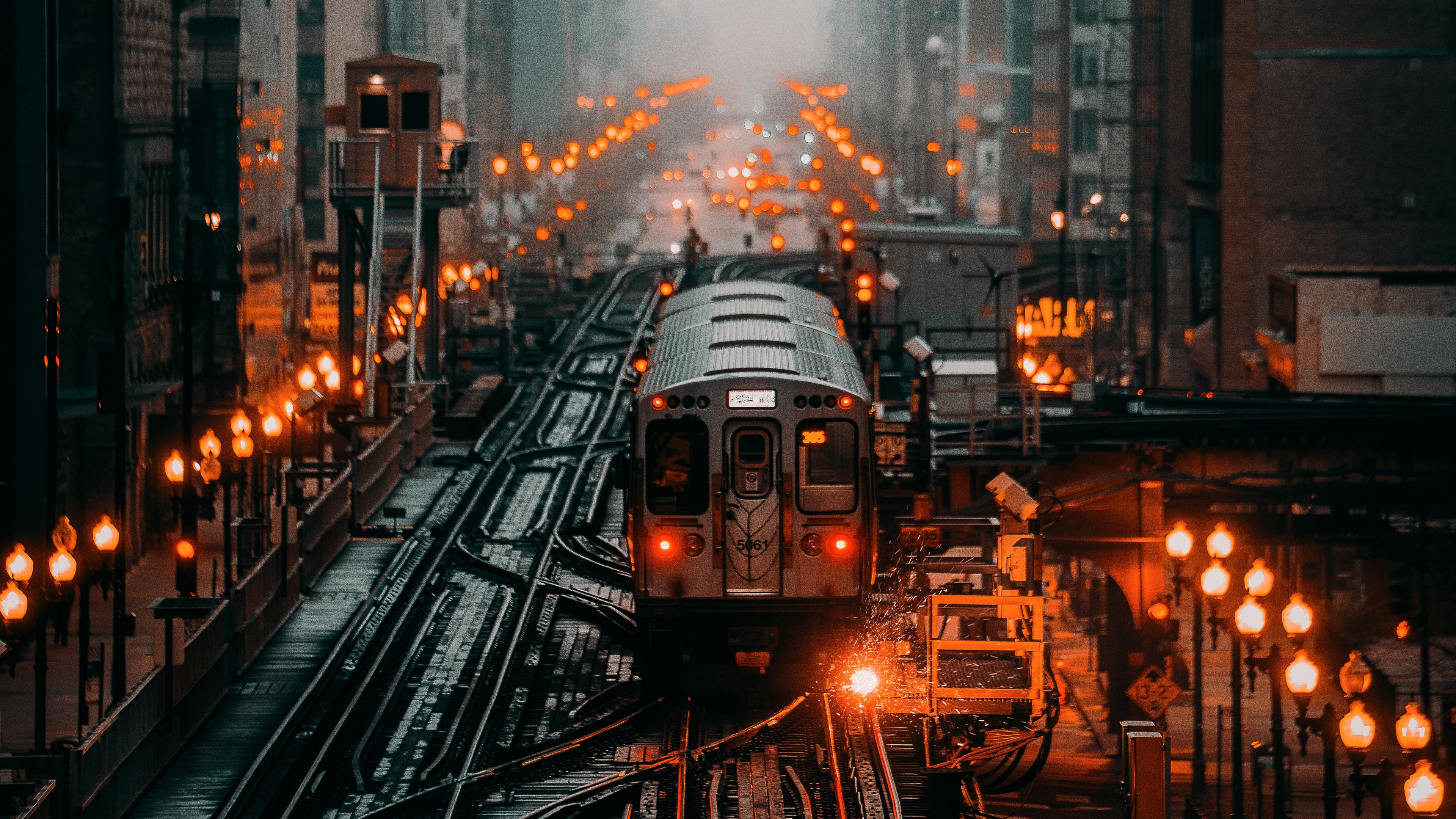 General 3840x2160 lights railway city metro street