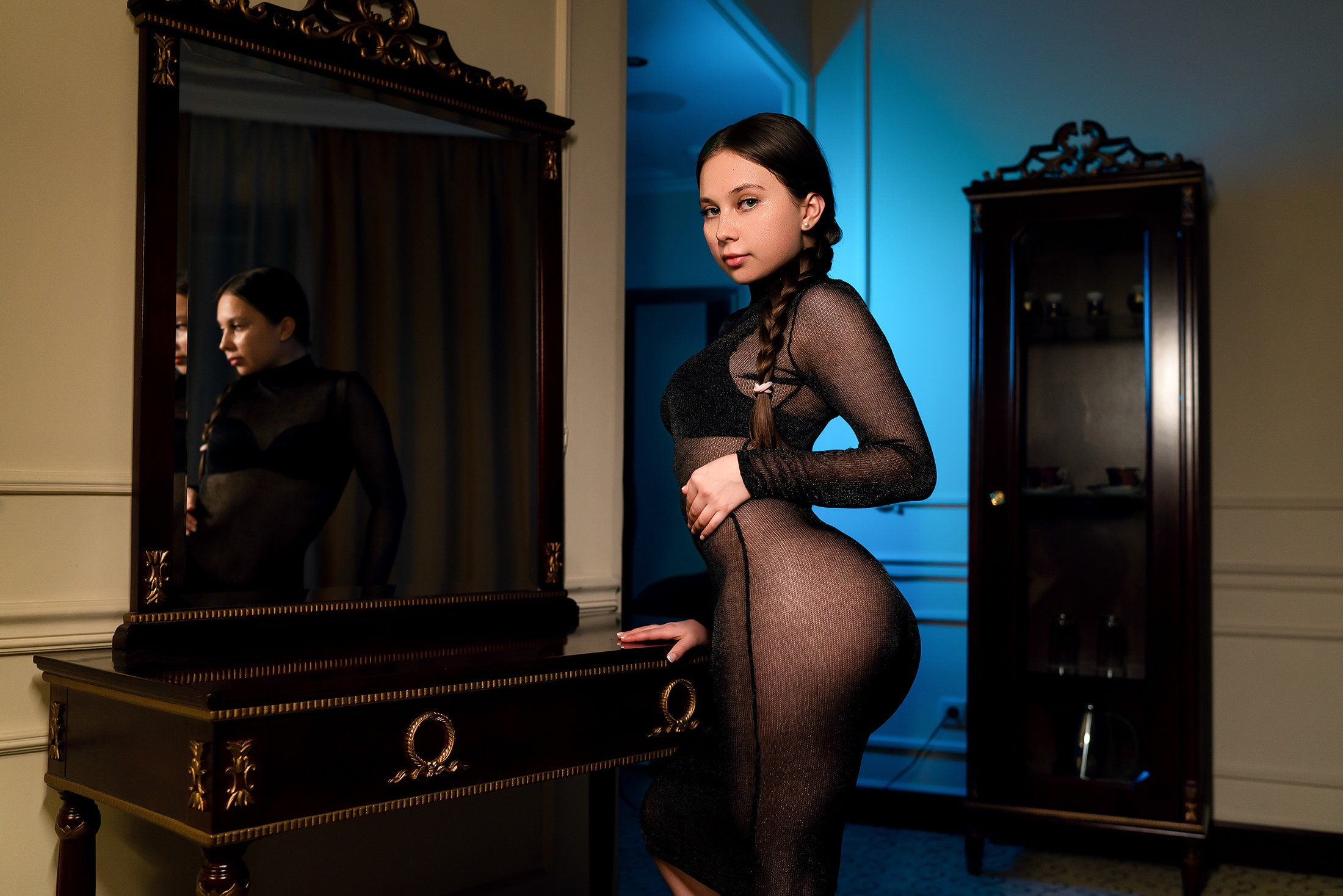 People 2200x1468 women black dress ass ponytail mirror reflection see-through dress black bras women indoors looking at viewer
