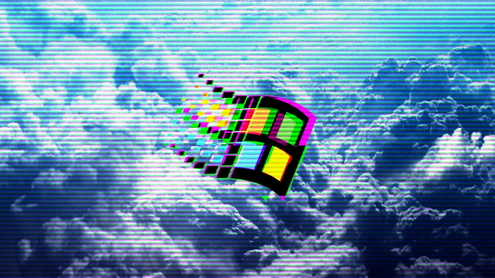 General 1602x901 vaporwave 1990s Windows 95 Windows 98 clouds