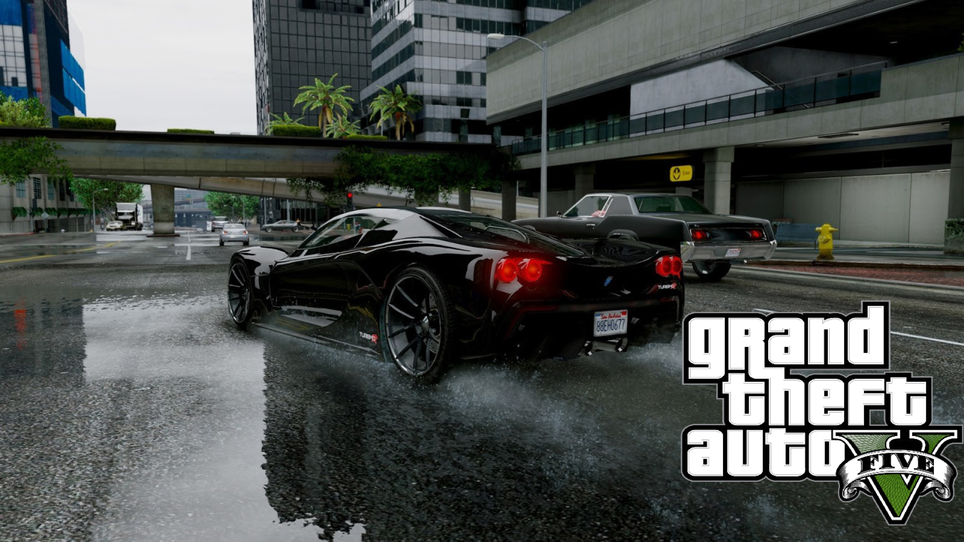 Turismo R, GTA5, rain, video games, car, vehicle, black cars ...