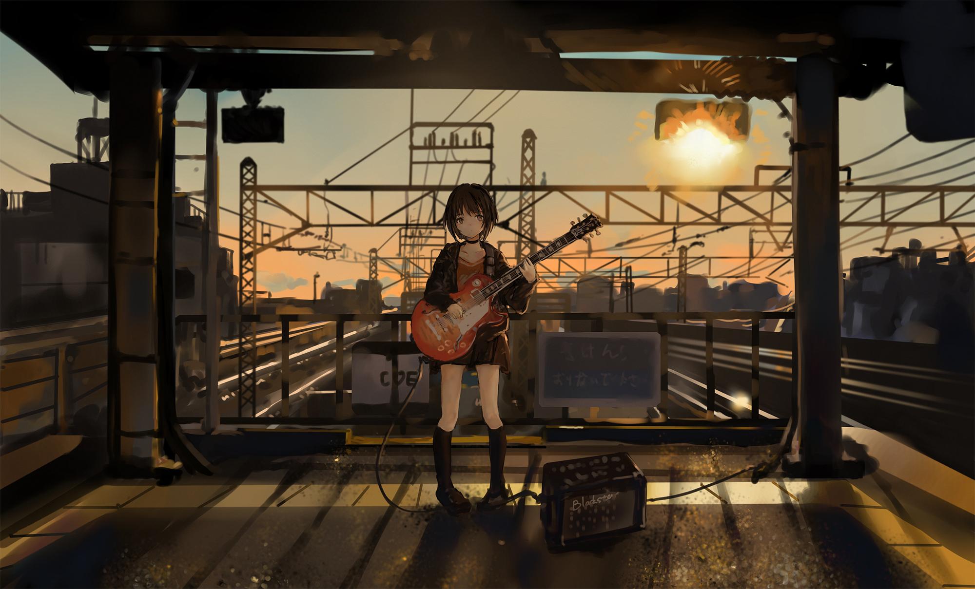 Anime 2000x1209 anime anime girls catzz guitar music railway
