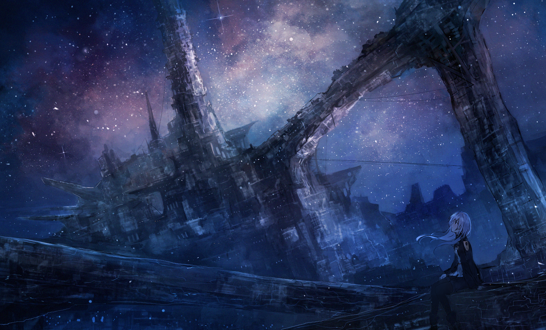 Anime 2480x1500 anime anime girls digital art artwork 2D portrait sky stars futuristic space