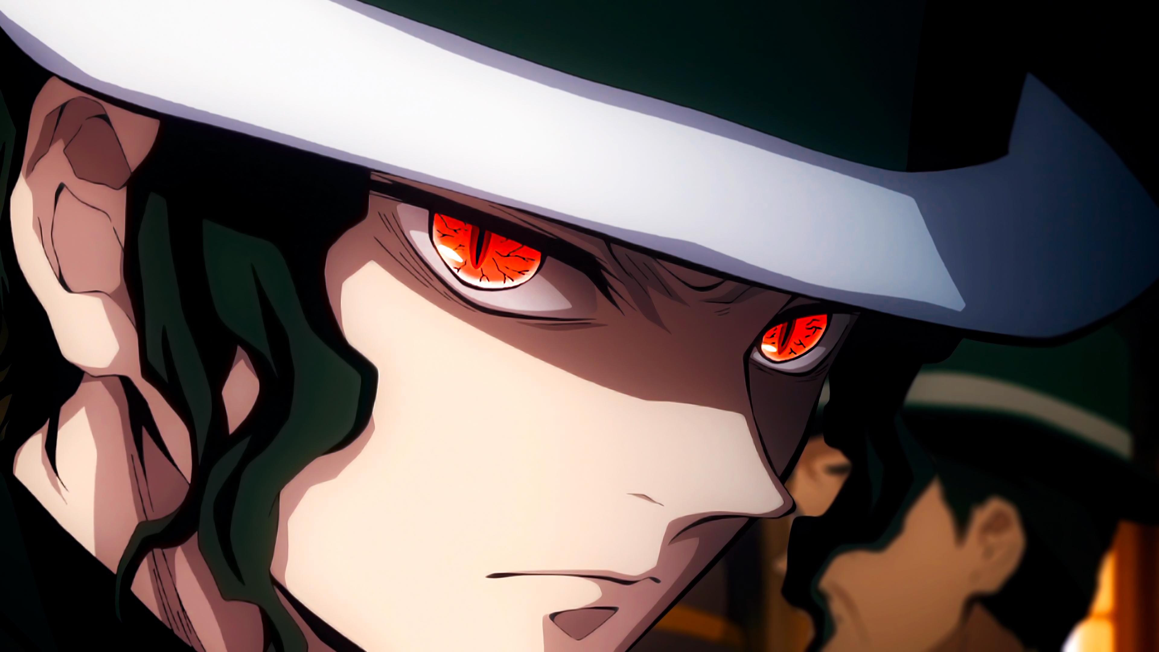Anime 3840x2160 Kimetsu no Yaiba anime digital art artwork anime boys Muzan Kibutsuji hat red eyes face