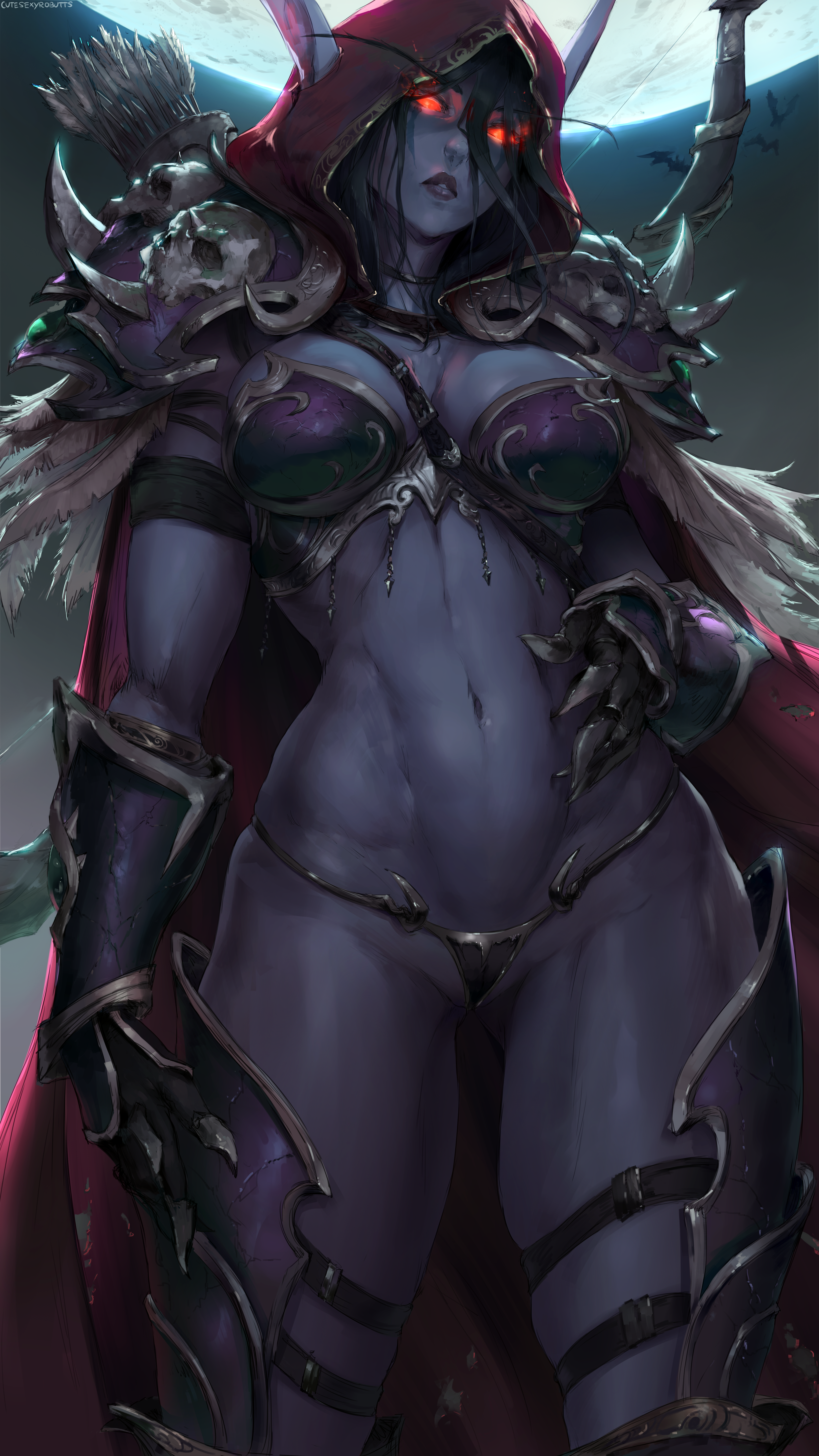 General 3500x6222 Sylvanas Windrunner Warcraft World of Warcraft Blizzard Entertainment video games women fantasy girl High Elf elves pointy ears dark fantasy hoods armor Armored skull arrows bow bow and arrow bra panties thick thigh the gap belly moonlight night dark red eyes looking at viewer low-angle portrait display vertical artwork drawing video game characters video game girls digital art illustration video game art fan art cutesexyrobutts dark hair feathers bats fictional character