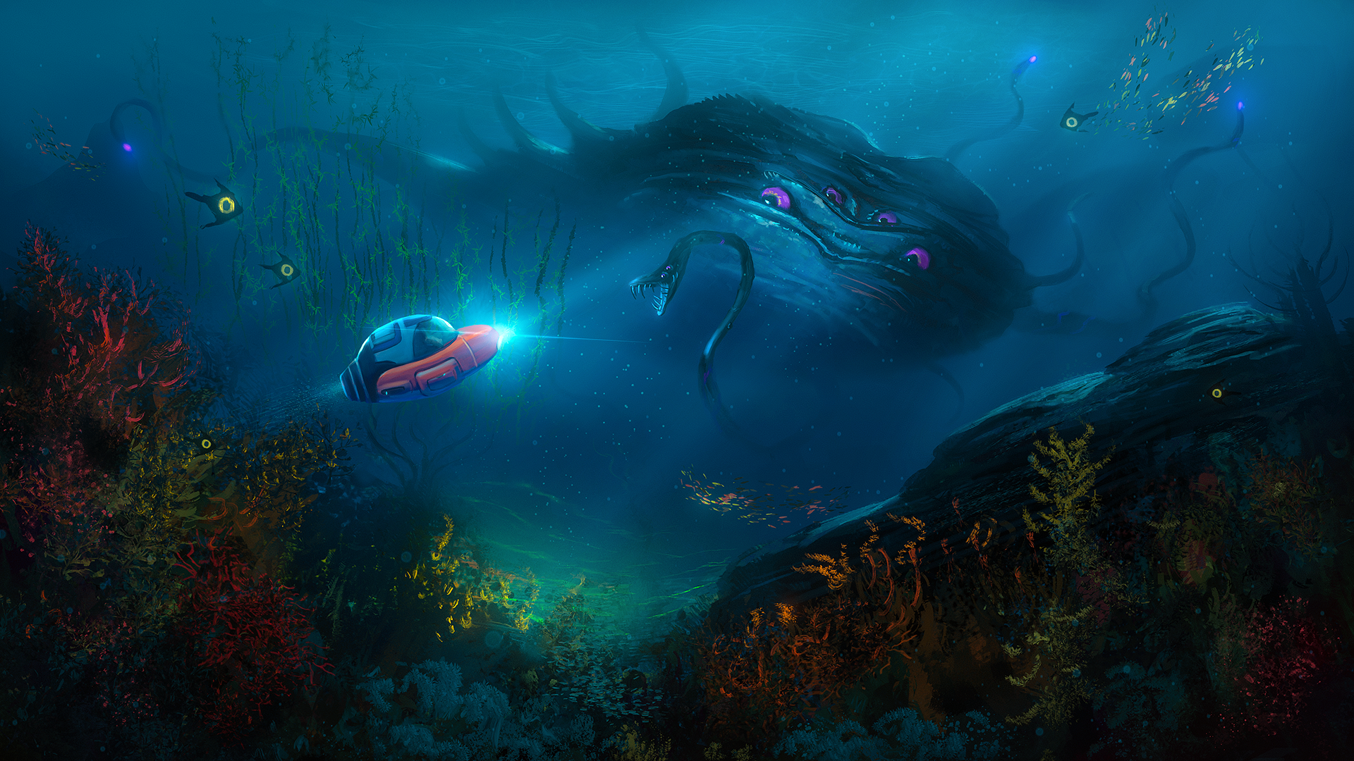 General 1920x1080 water underwater plants submarine subnautica sea monsters video games fan art video game art lights fish coral snake fantasy art Rafael Damiani colorful creature sea