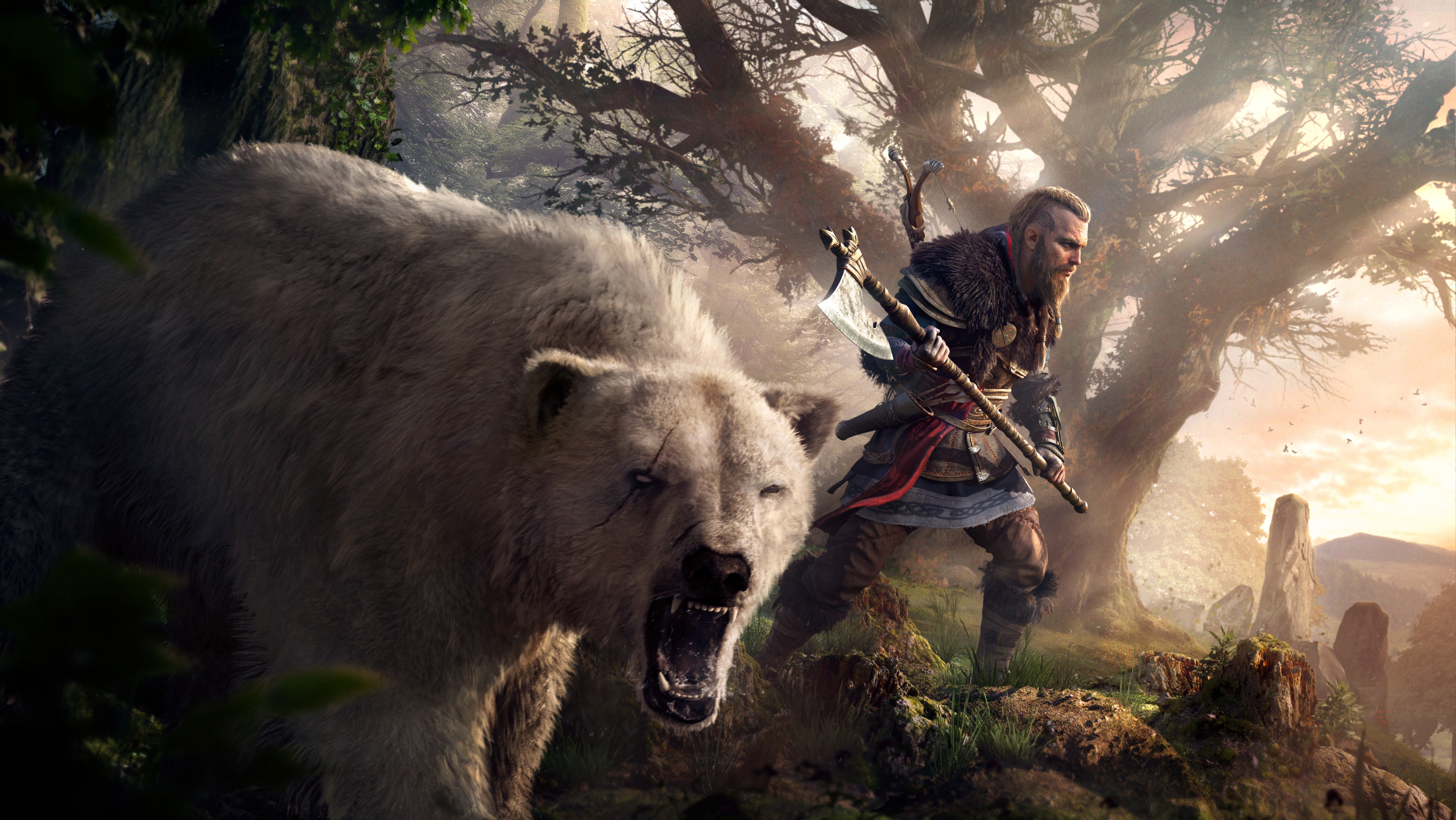 General 5329x3000 Assassin's Creed: Valhalla viking video games video game art digital art Axe bears