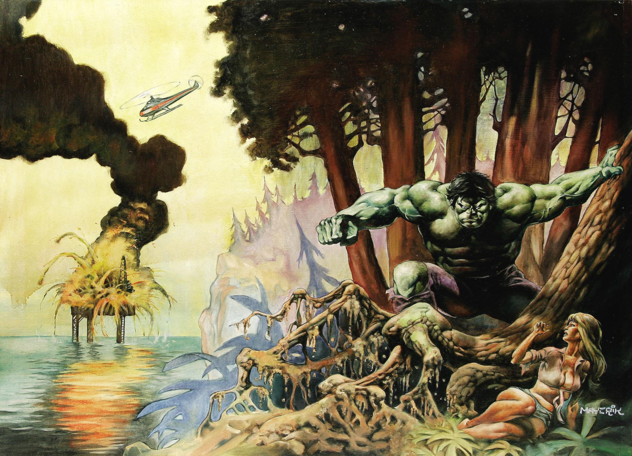 General 2181x1573 Val Mayerik Hulk helicopter oil platform women swamp painting explosion