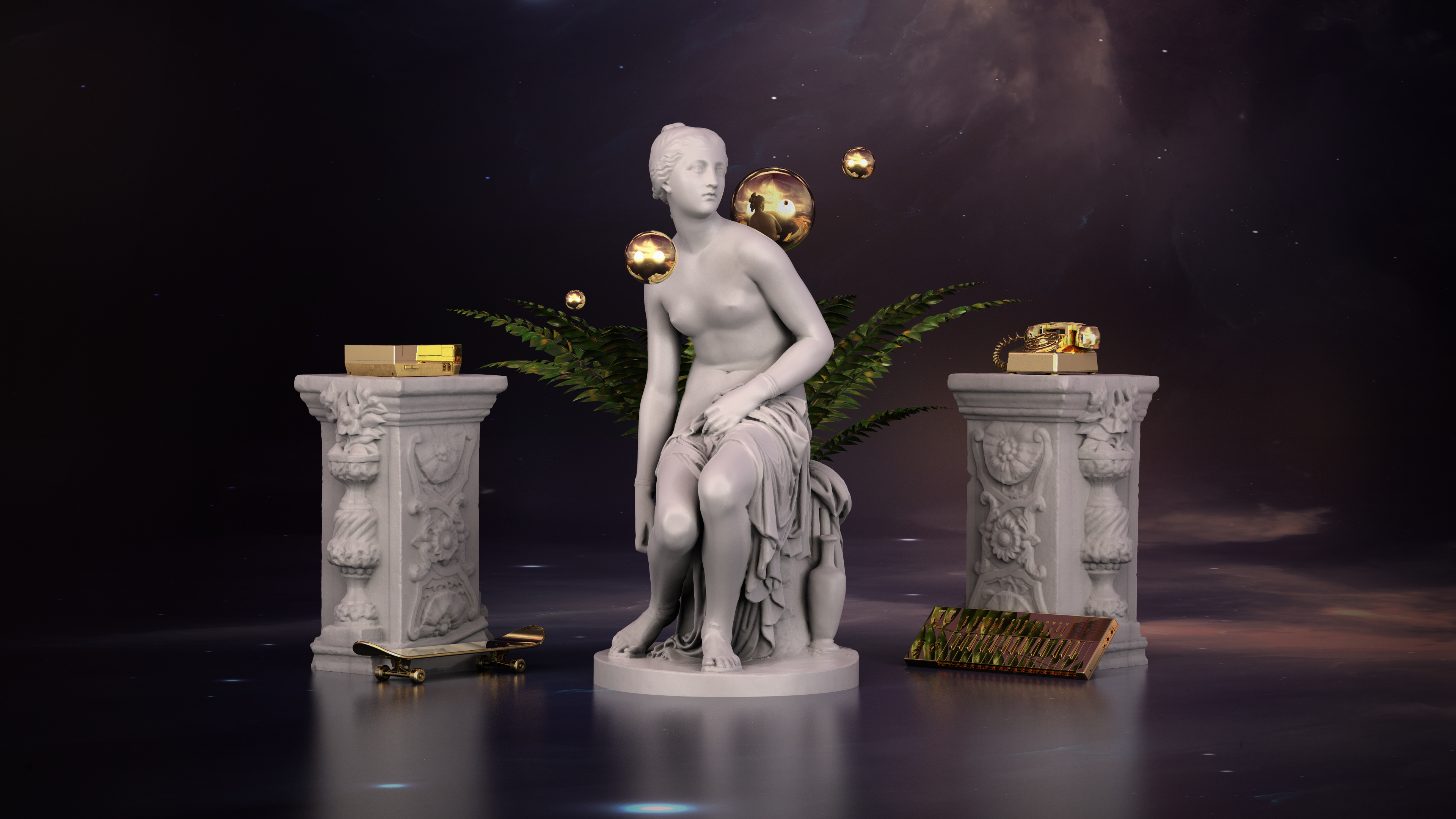 General 3840x2160 3D space marble gold Nintendo Entertainment System skateboard piano Synth phone statue ferns