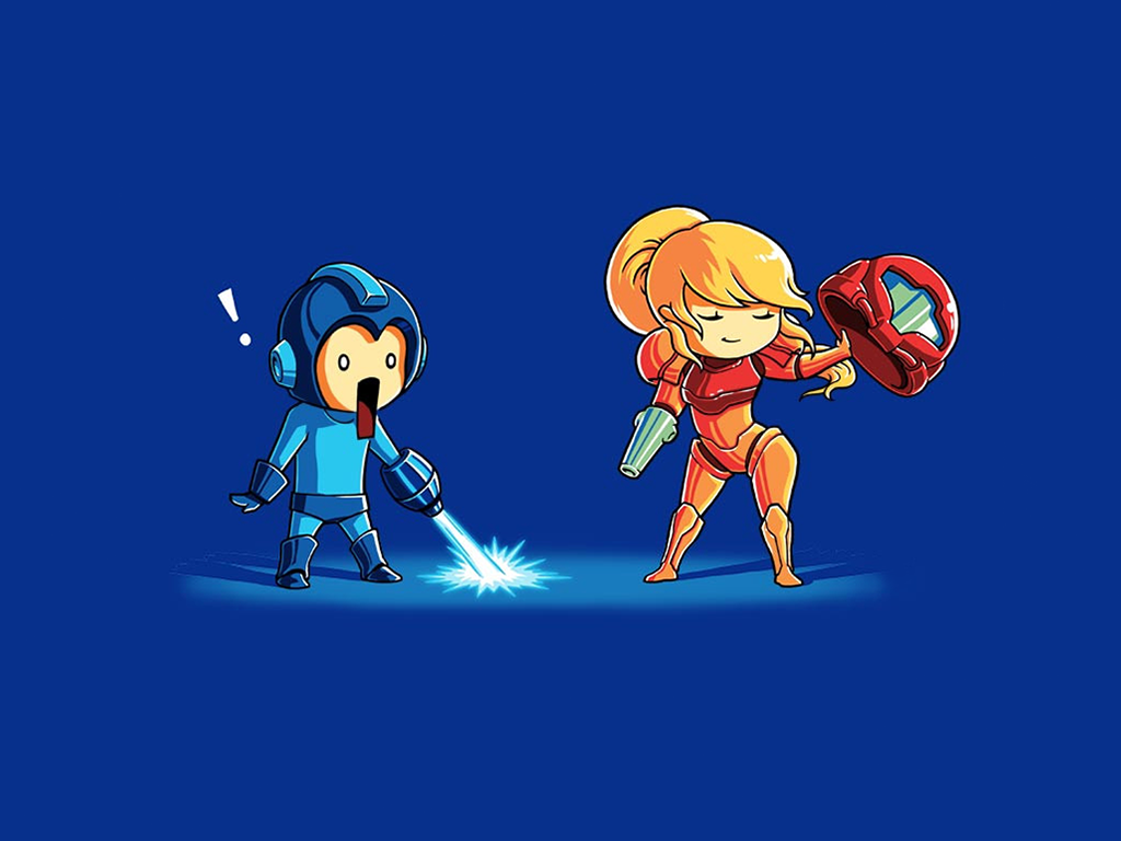 General 1024x768 video games Mega Man humor Samus Aran Metroid artwork